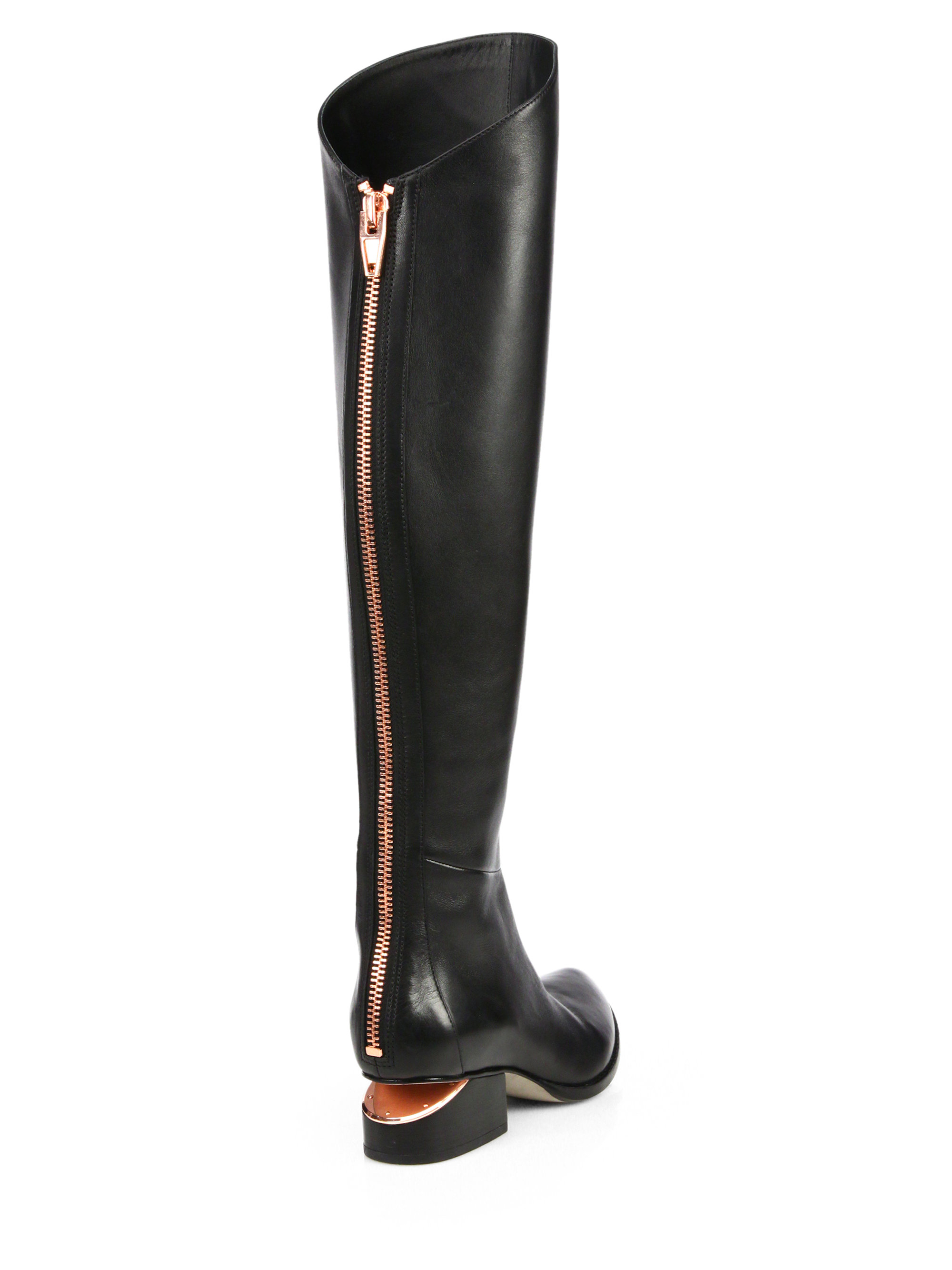 Lyst Alexander Wang Sigrid Tall Leather Boots In Black
