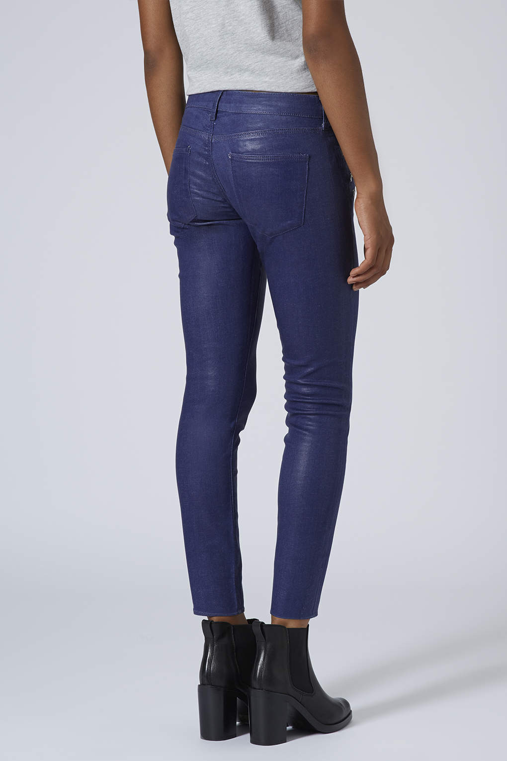 Topshop womens moto coated biker jeans navy blue in blue for Womens denim shirts topshop