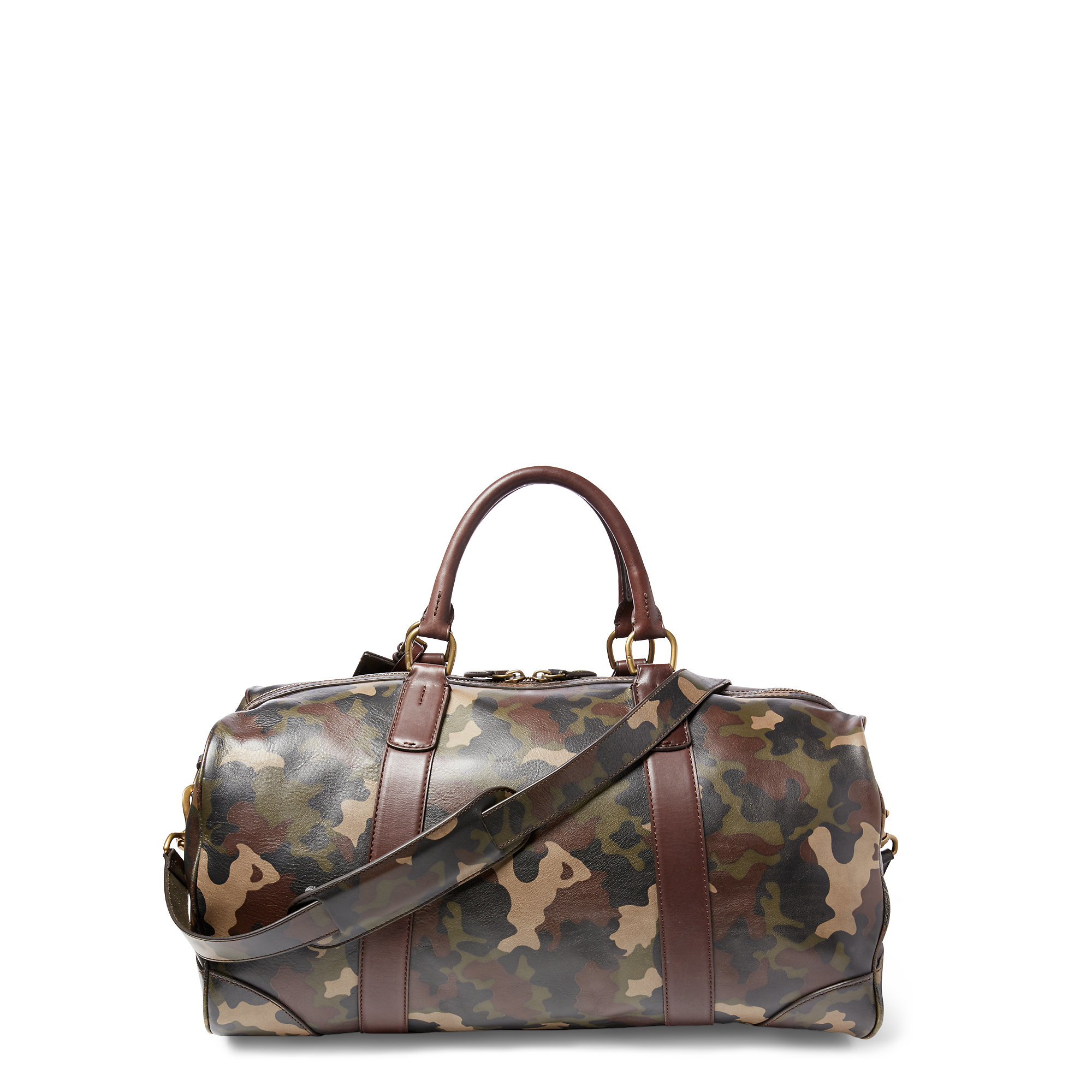 349111b7c8 Lyst - Polo Ralph Lauren Camouflage Leather Duffel Bag in Gray for Men