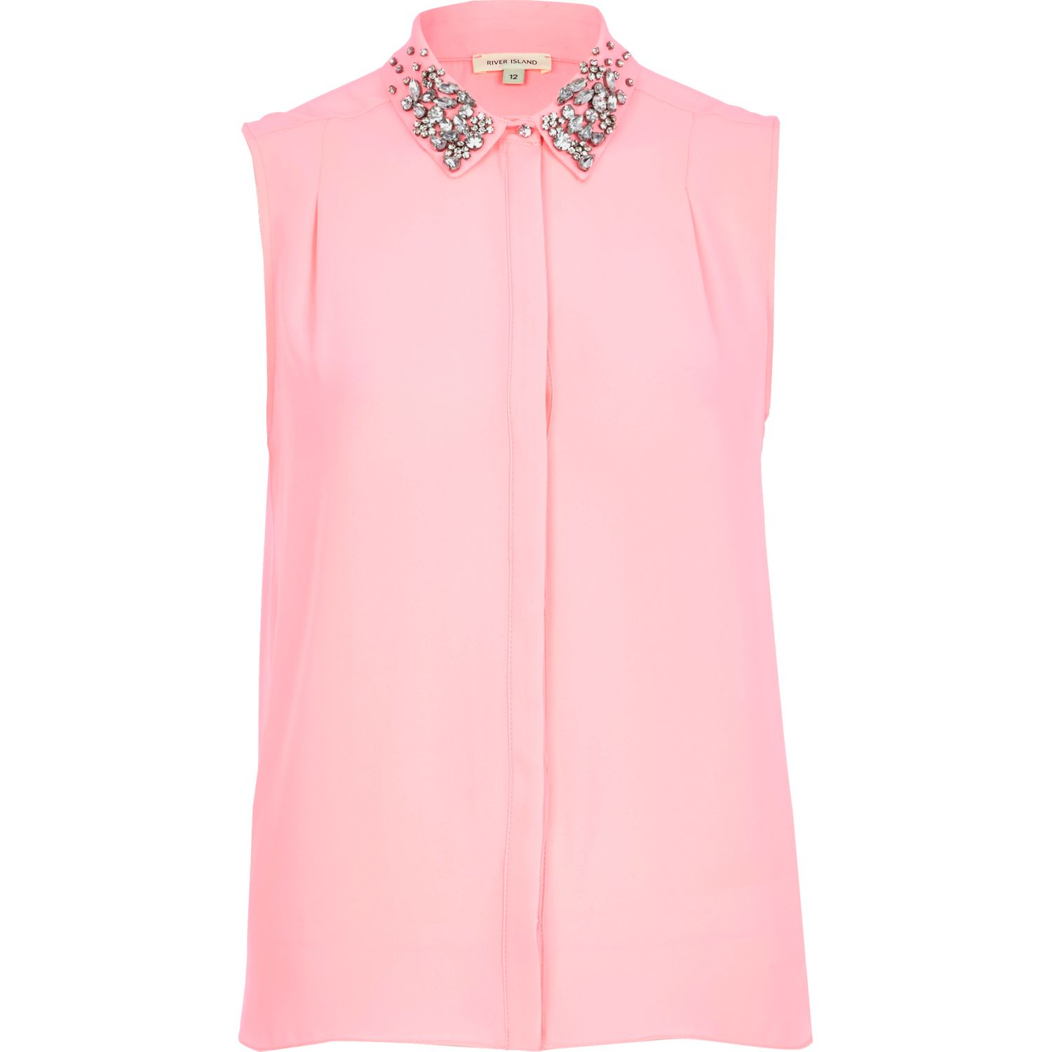 River Island Pink Embellished Collar Sleeveless Shirt In