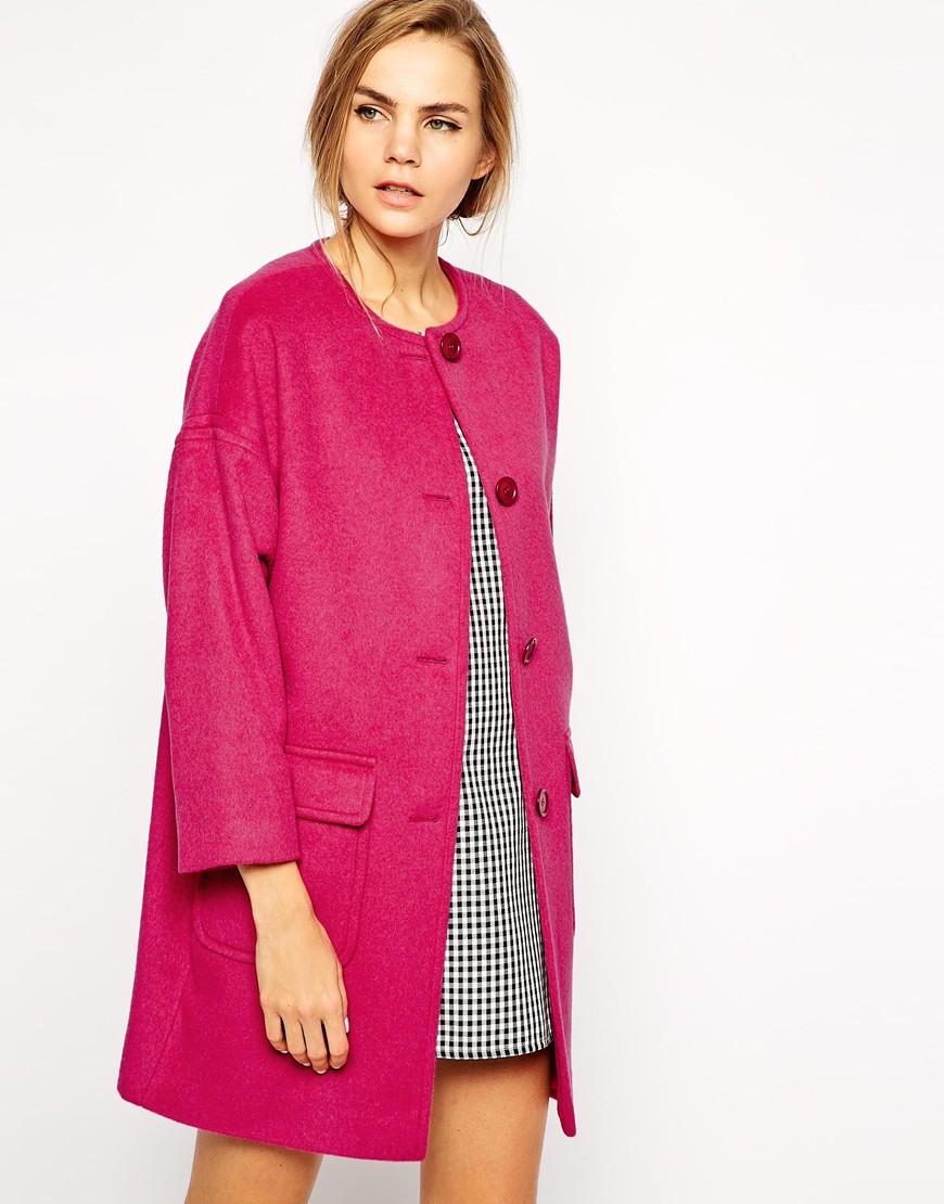 Helene berman Collarless Coat in Pink | Lyst