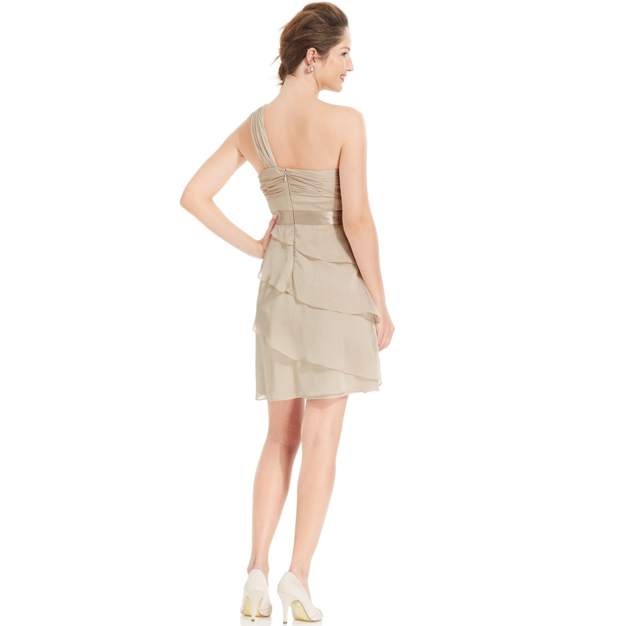 Adrianna papell One shoulder Tiered Chiffon Dress in Natural | Lyst