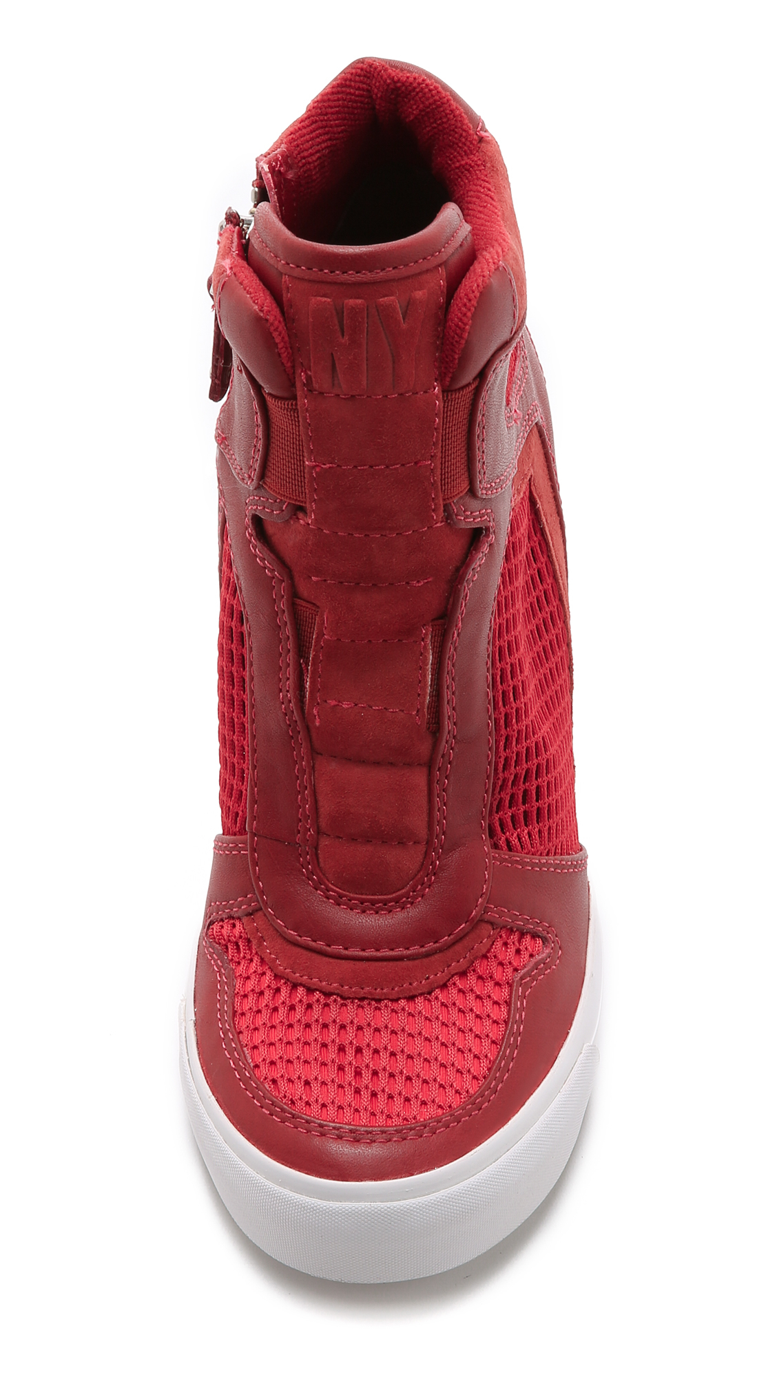 5ea6d2bef12f Lyst - DKNY Grand Wedge Sneakers - Brick Red bright Flame in Red