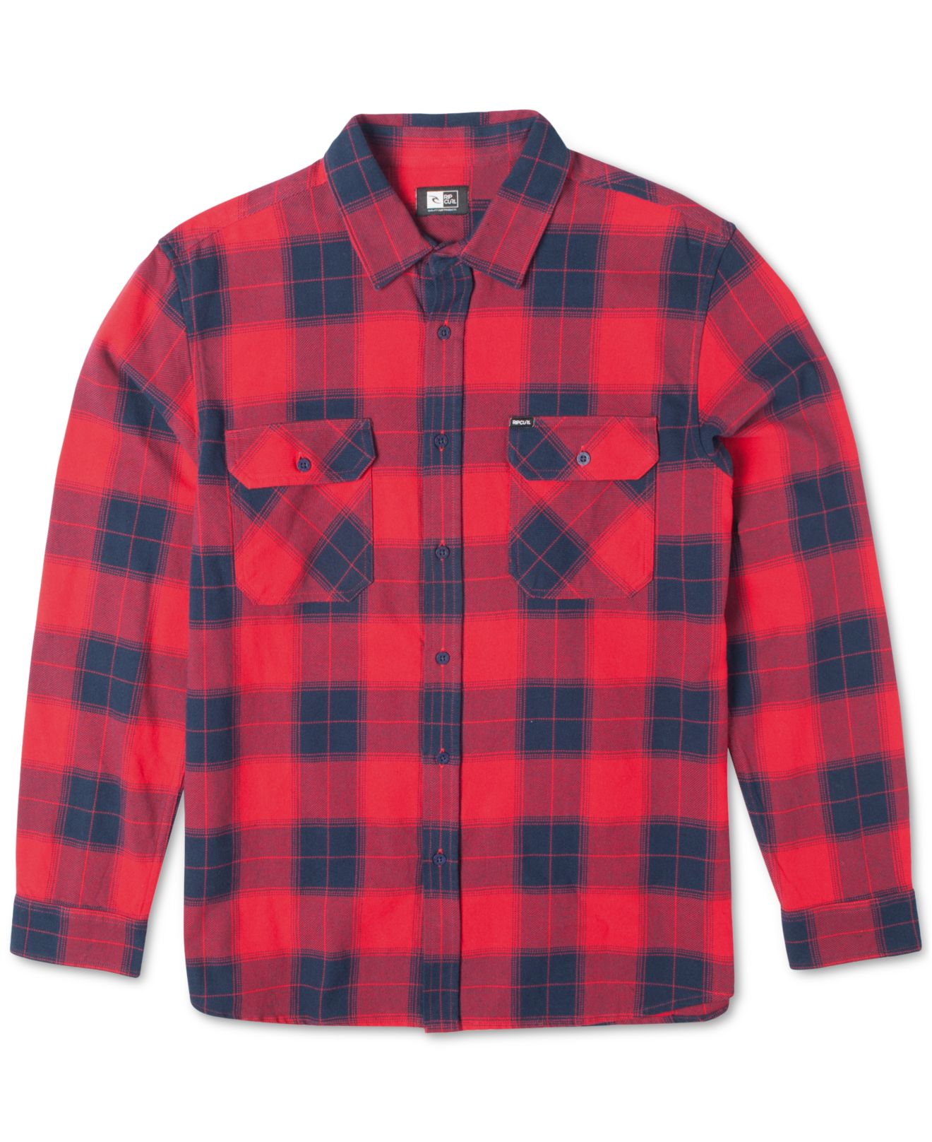 Rip Curl Ruggles Plaid Flannel Long Sleeve Shirt In Red