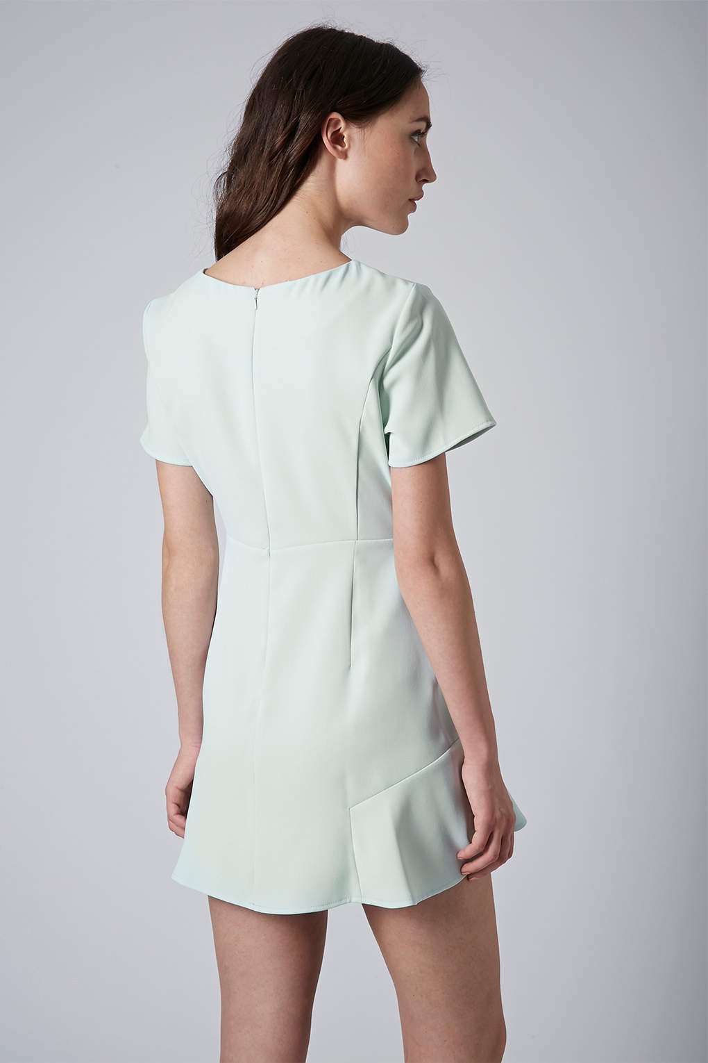 Topshop Petite Fit And Flare Crepe Dress In Mint Green