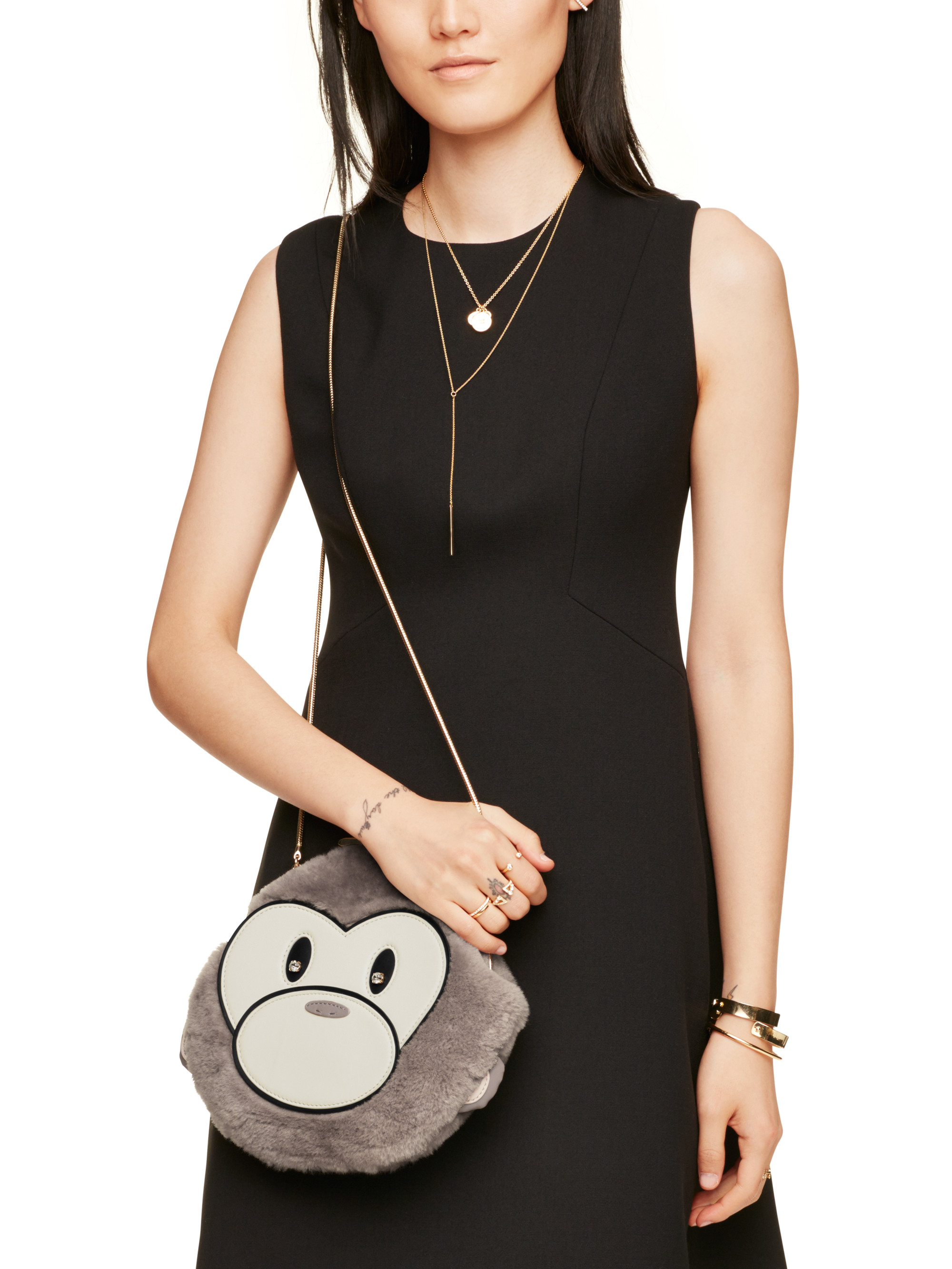 Kate Spade Leather Caution To The Wind Monkey Crossbody in Grey