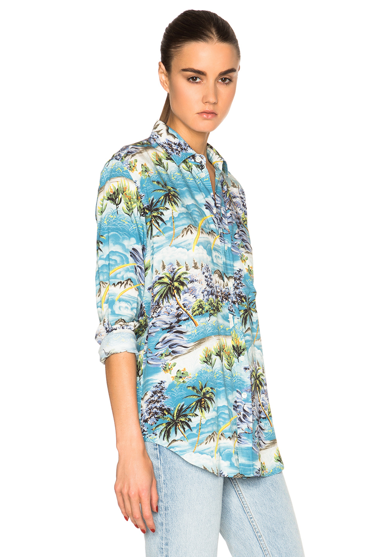 Saint laurent hawaiian shirt in blue lyst for Saint laurent shirt womens