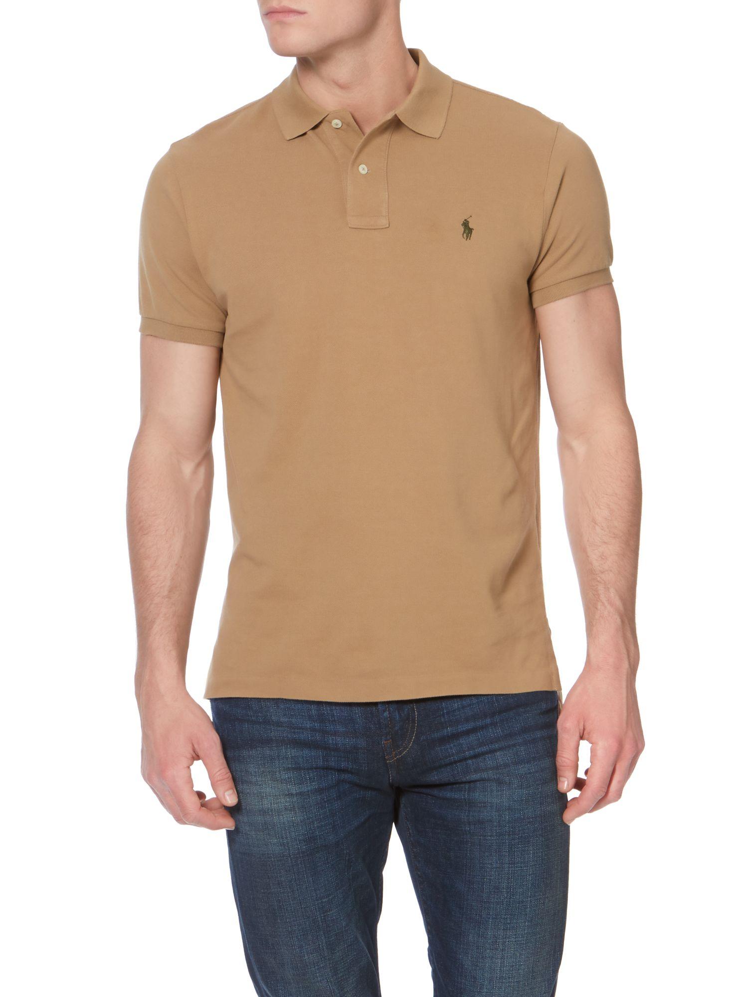 Polo Ralph Lauren Custom Fit Mesh Polo Shirt In Natural