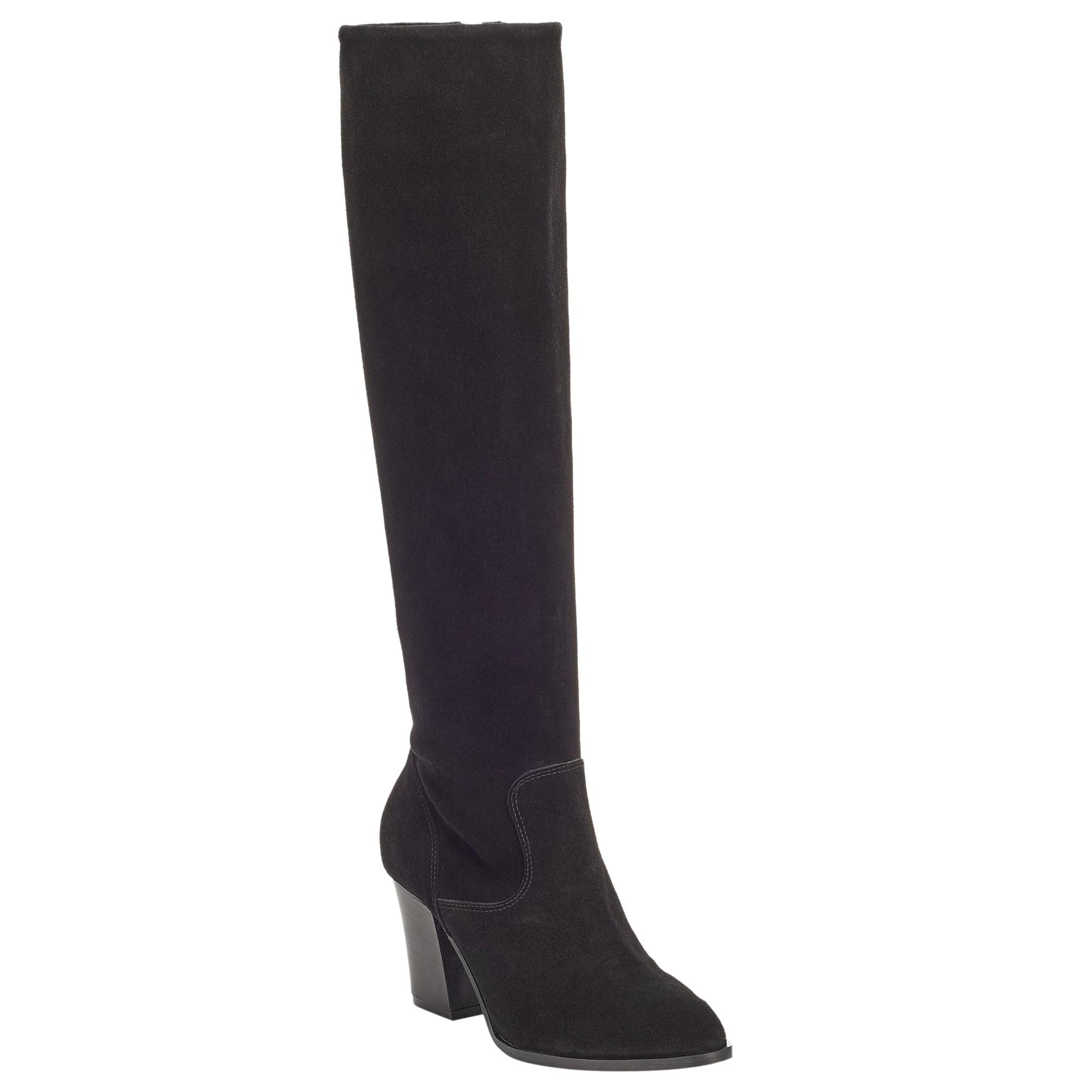 John Lewis Sheena Long Suede Knee High Boots in Black