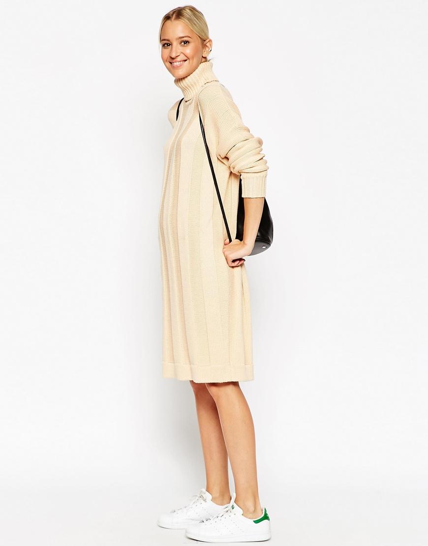 836d34d89e10b Lyst - ASOS White Ribbed Stripe Jumper Dress In Silk Cashmere Mix in ...