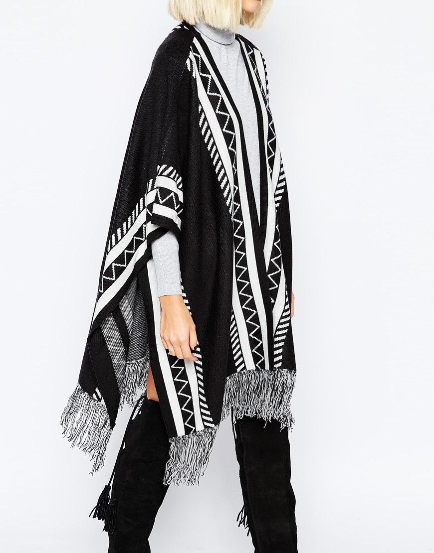Vero Moda Knitting Patterns : Lyst vero moda knitted poncho in black