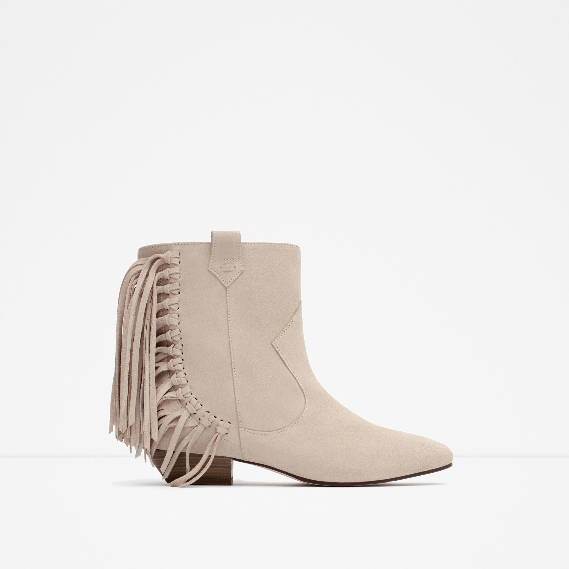 zara flat leather ankle boots with fringe lyst