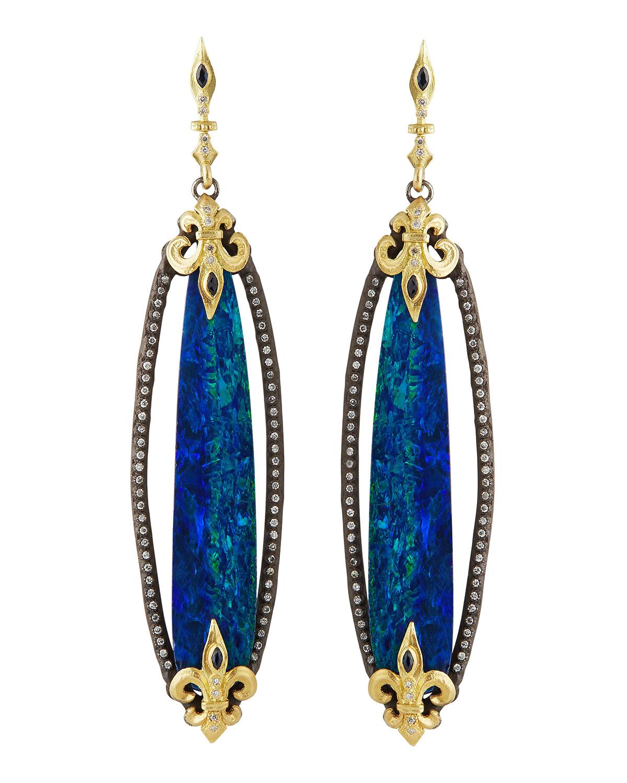 Armenta Elongated Boulder Opal Fleur De Lis Earrings In