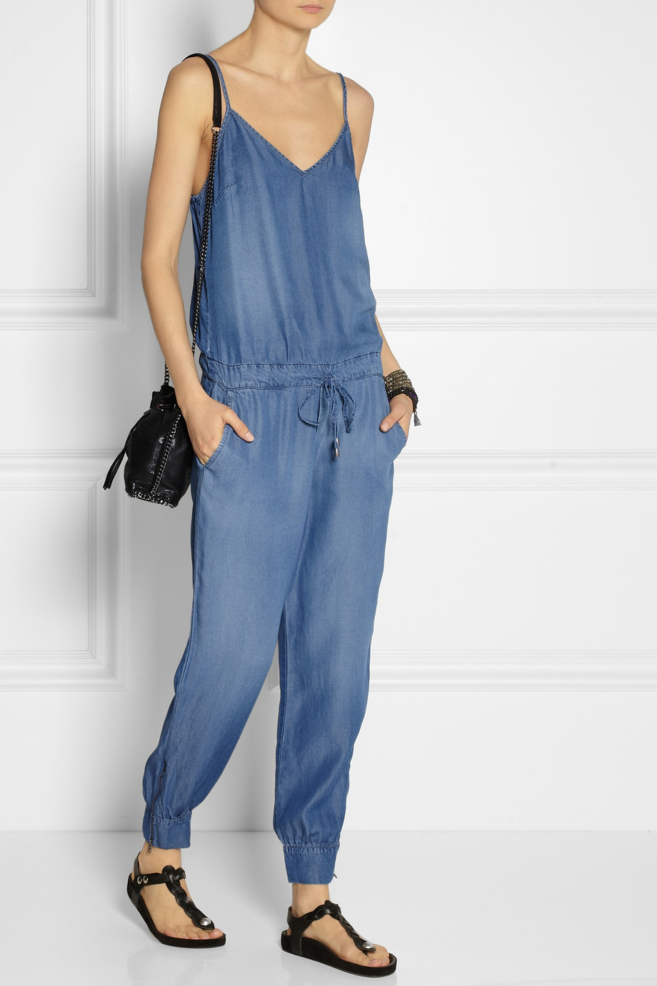 c0cf7fe1d93 Lyst - Splendid Washed Chambray Jumpsuit in Blue