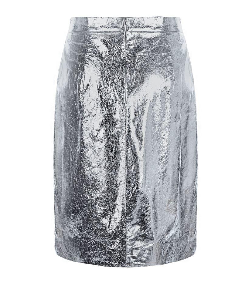 dkny metallic leather skirt in metallic lyst