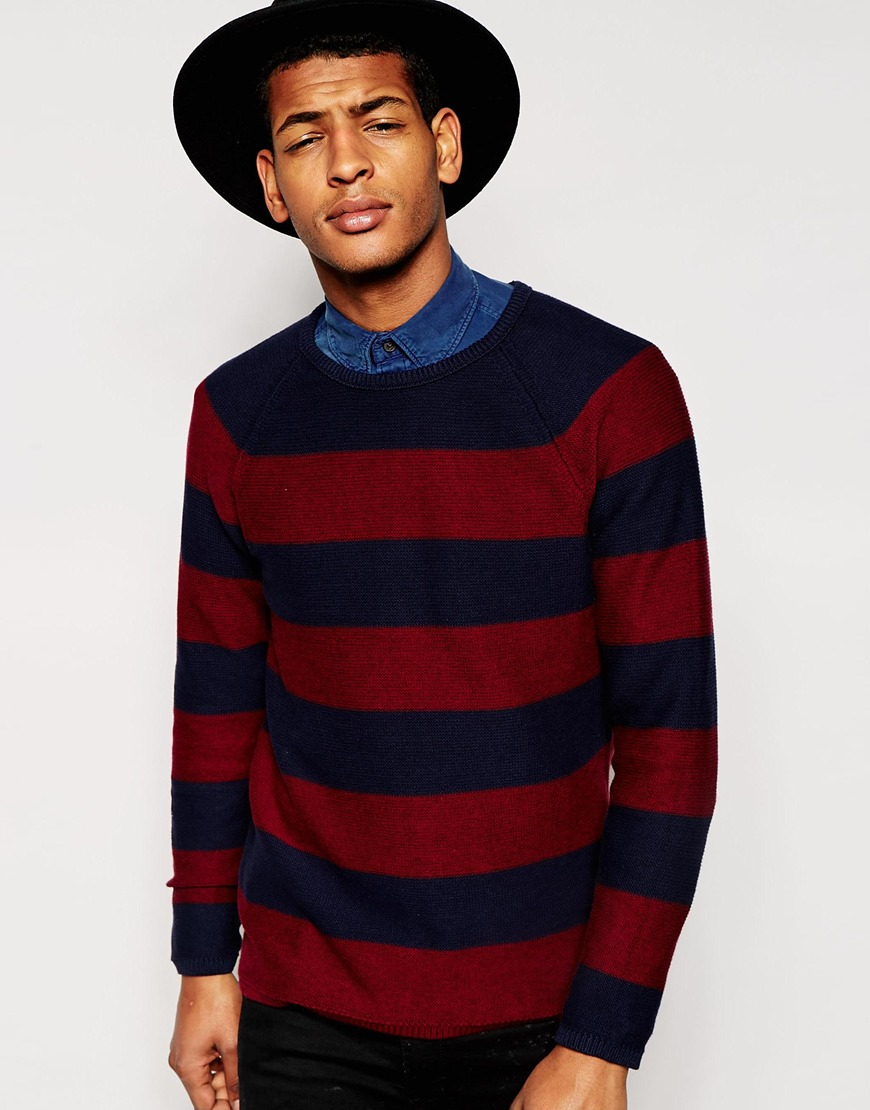 Selected Vince Striped Crew Neck Sweater in Blue for Men | Lyst