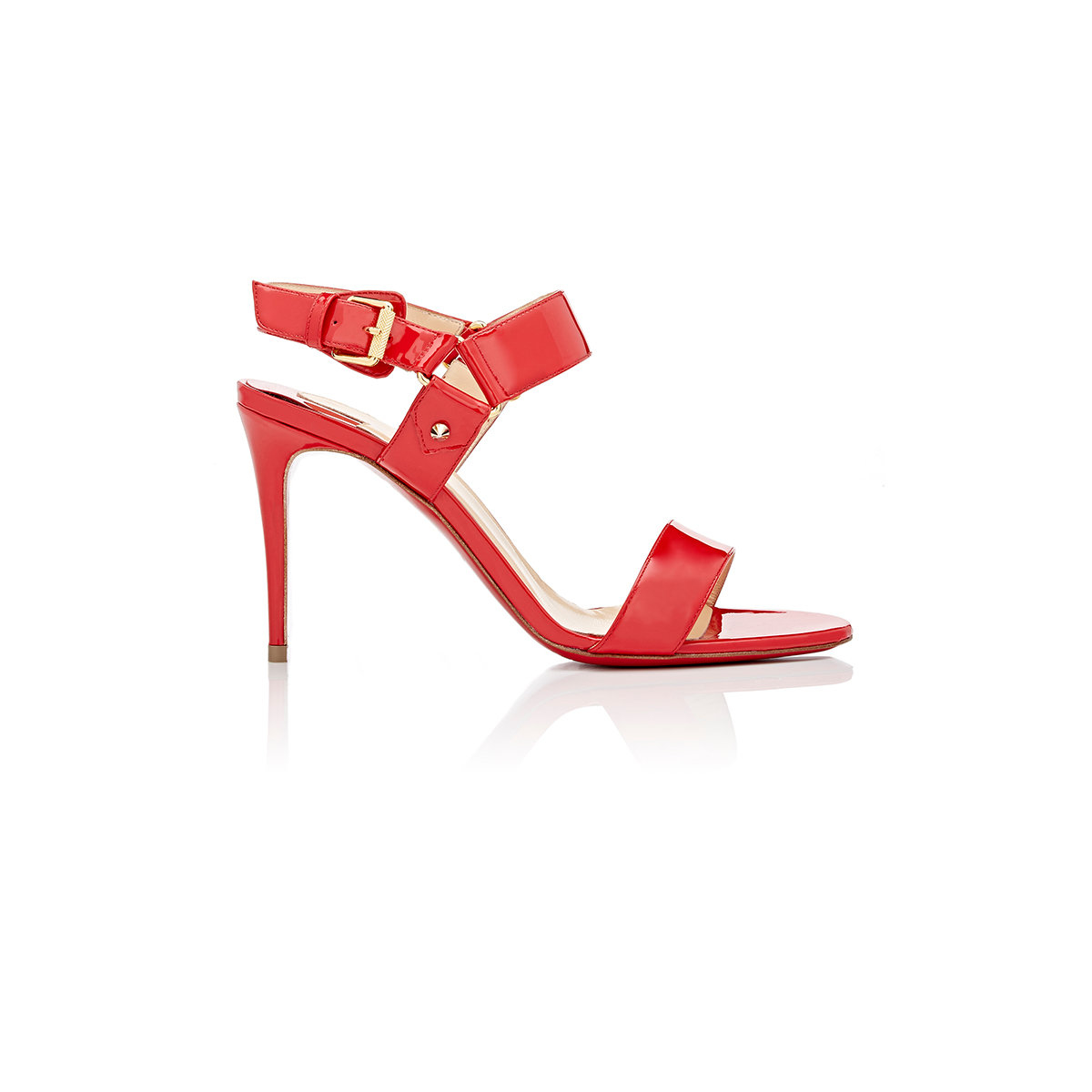 16aa5e3801f Lyst - Christian Louboutin Sova Buckled Patent Leather Sandals in Red