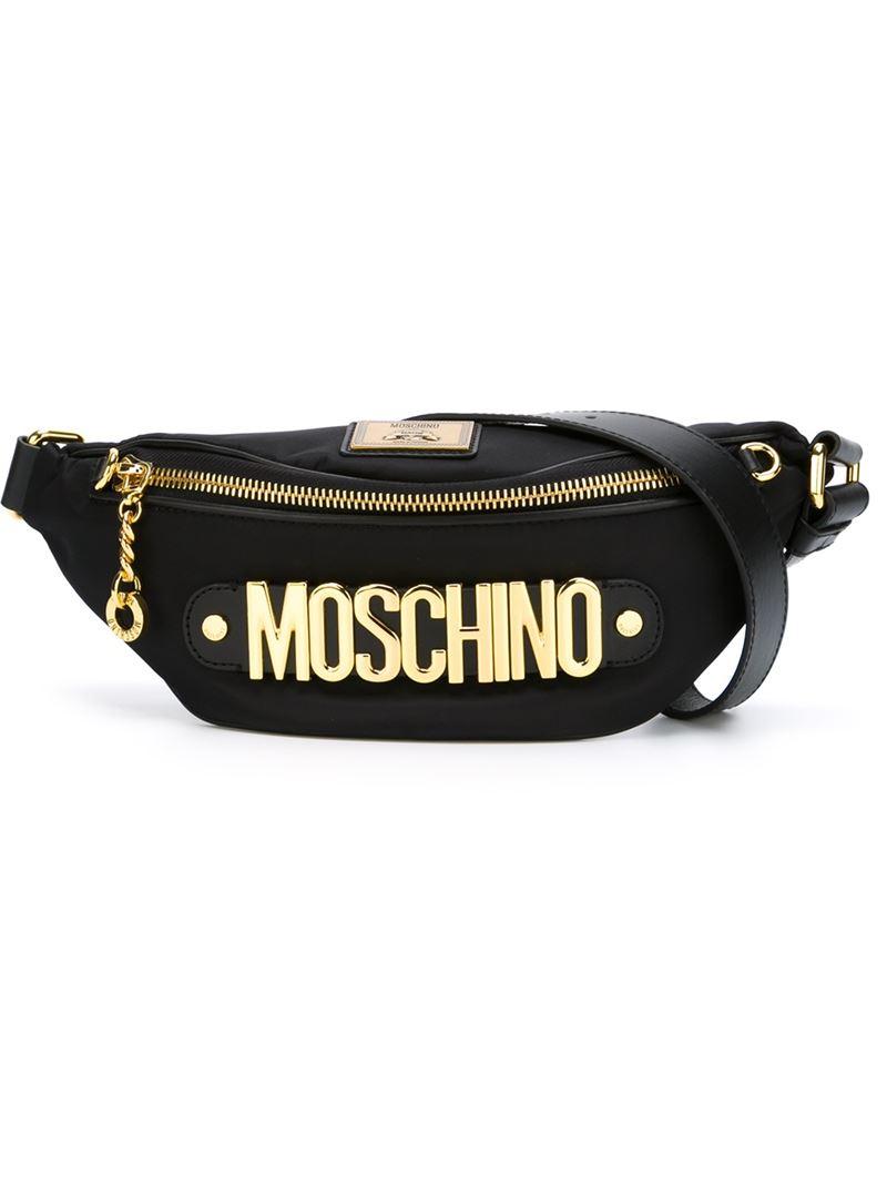 5bdb302157e Moschino Black Logo Plaque Belt Bag