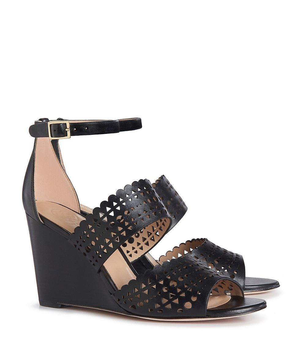 Black Wedge Evening Shoes