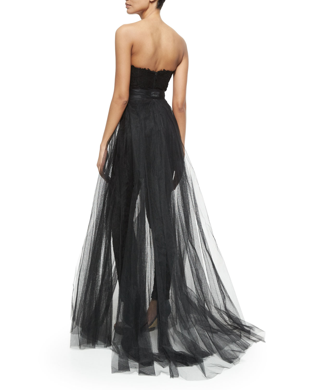 6798eaf6a9ab Lyst - Monique Lhuillier Strapless Jumpsuit W removable Skirt in Black