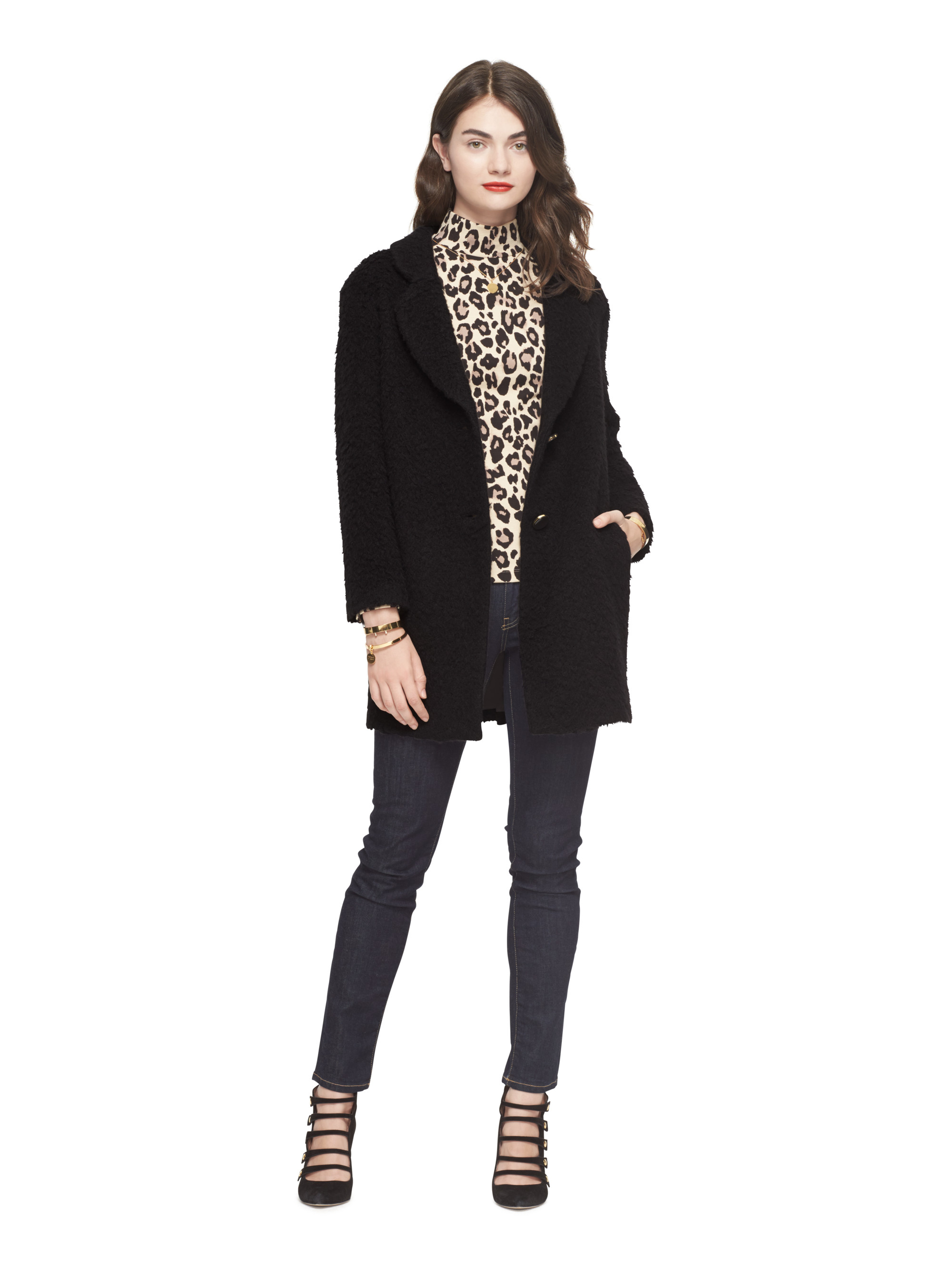 Kate spade new york Fluffy Wool Bow Coat in Black