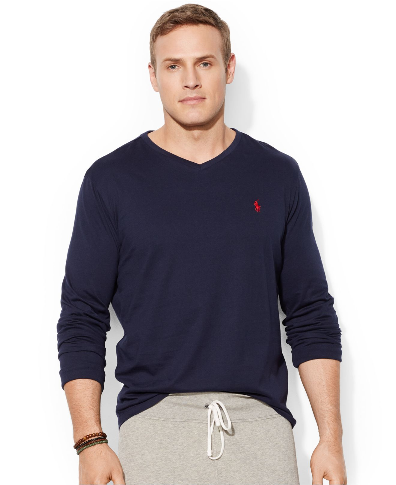 Polo ralph lauren big and tall long sleeve v neck t shirt for Men s tall long sleeve shirts