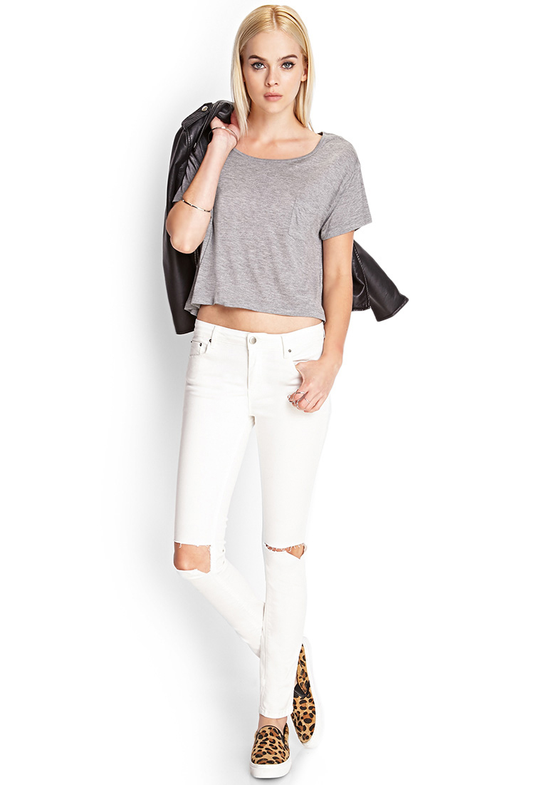 Gallery - Forever 21 Ripped Skinny Jeans In White Lyst