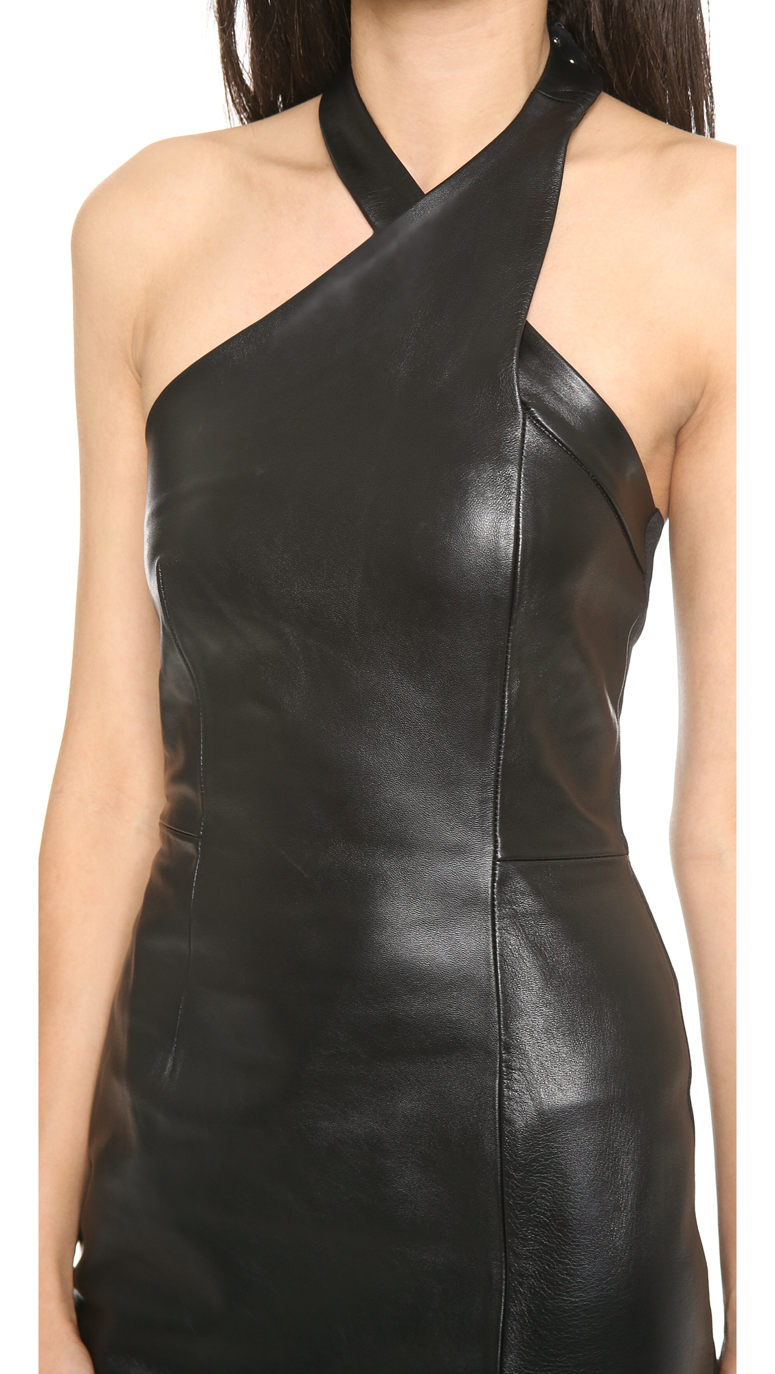 Lyst Nicholas Leather Wrap Neck Dress Black In Black