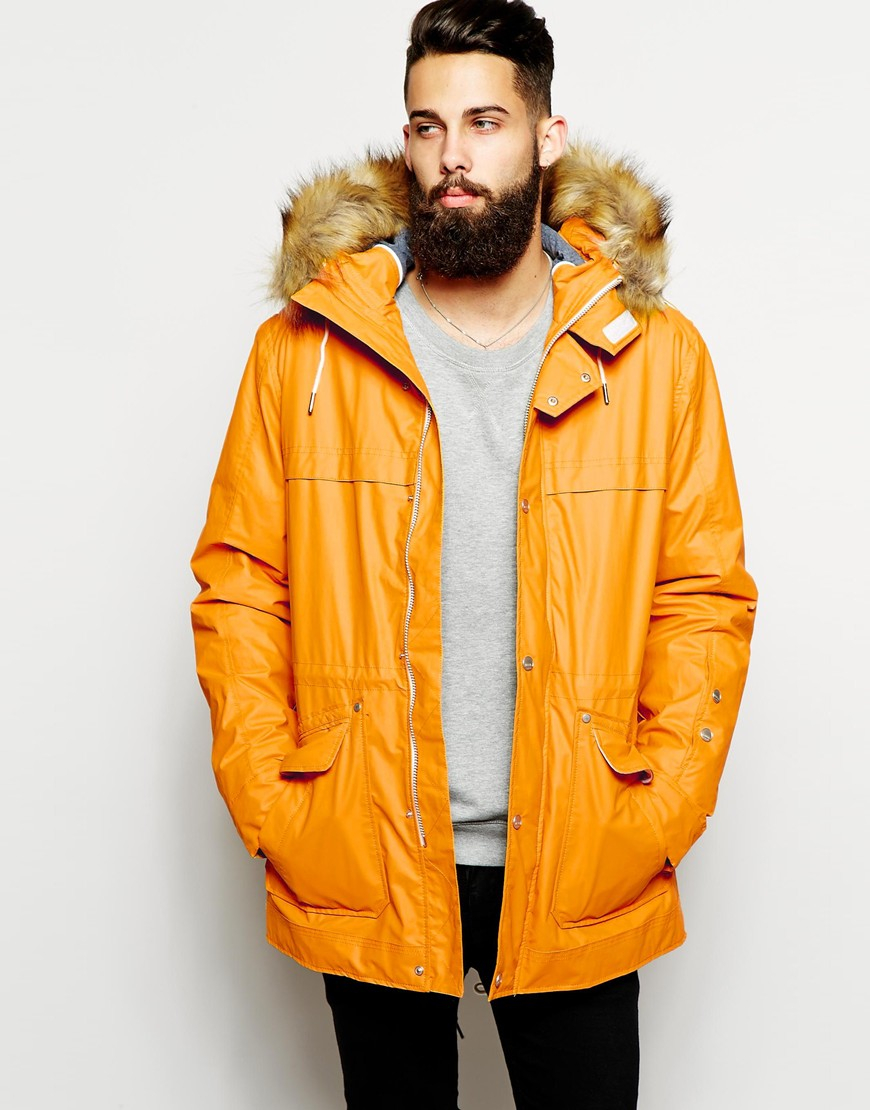 Parka london Parka With Faux Fur Hood in Yellow for Men | Lyst