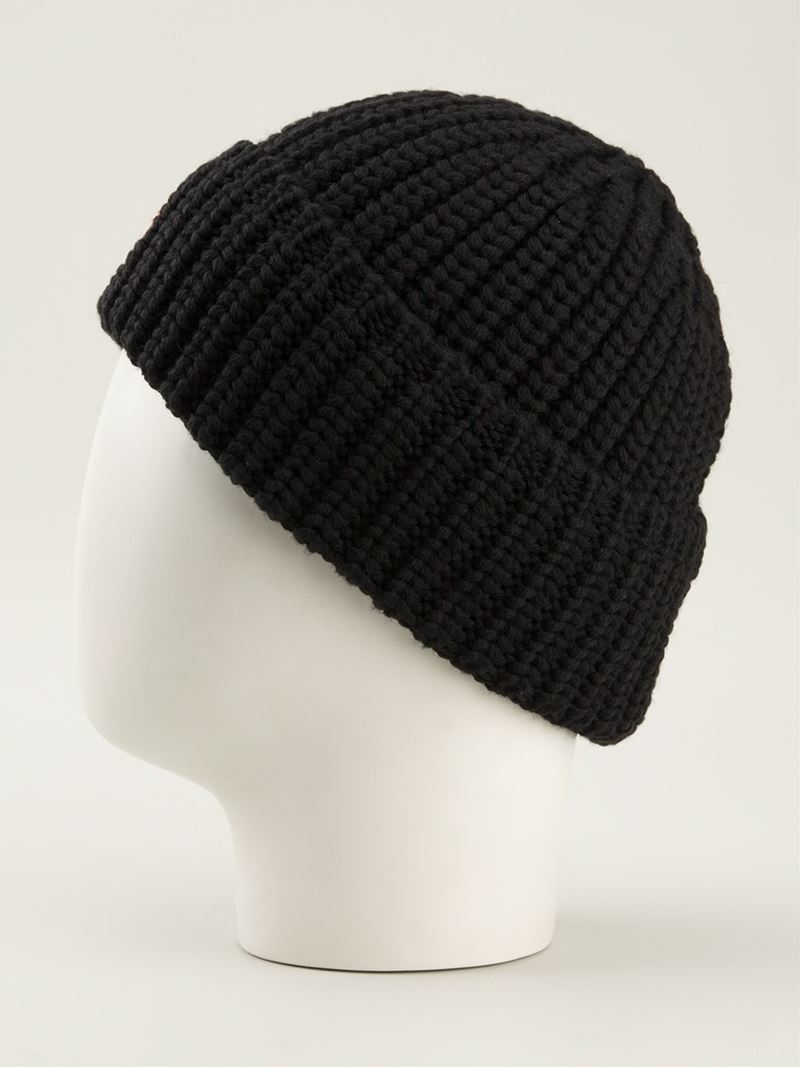 Moncler Ribbed Knit Beanie Hat in Black for Men - Lyst cc3d36d0016