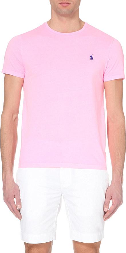 4fe4619e71fad Ralph Lauren Custom-fit Logo Cotton-jersey T-shirt in Pink for Men ...