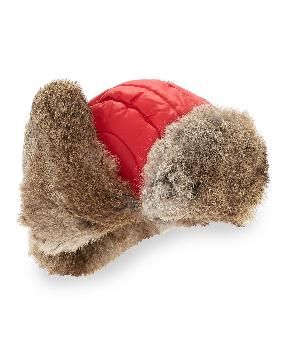 789c1798ccb Lyst - Crown Cap Quilted Nylon Aviator Hat With Rabbit Fur in Red