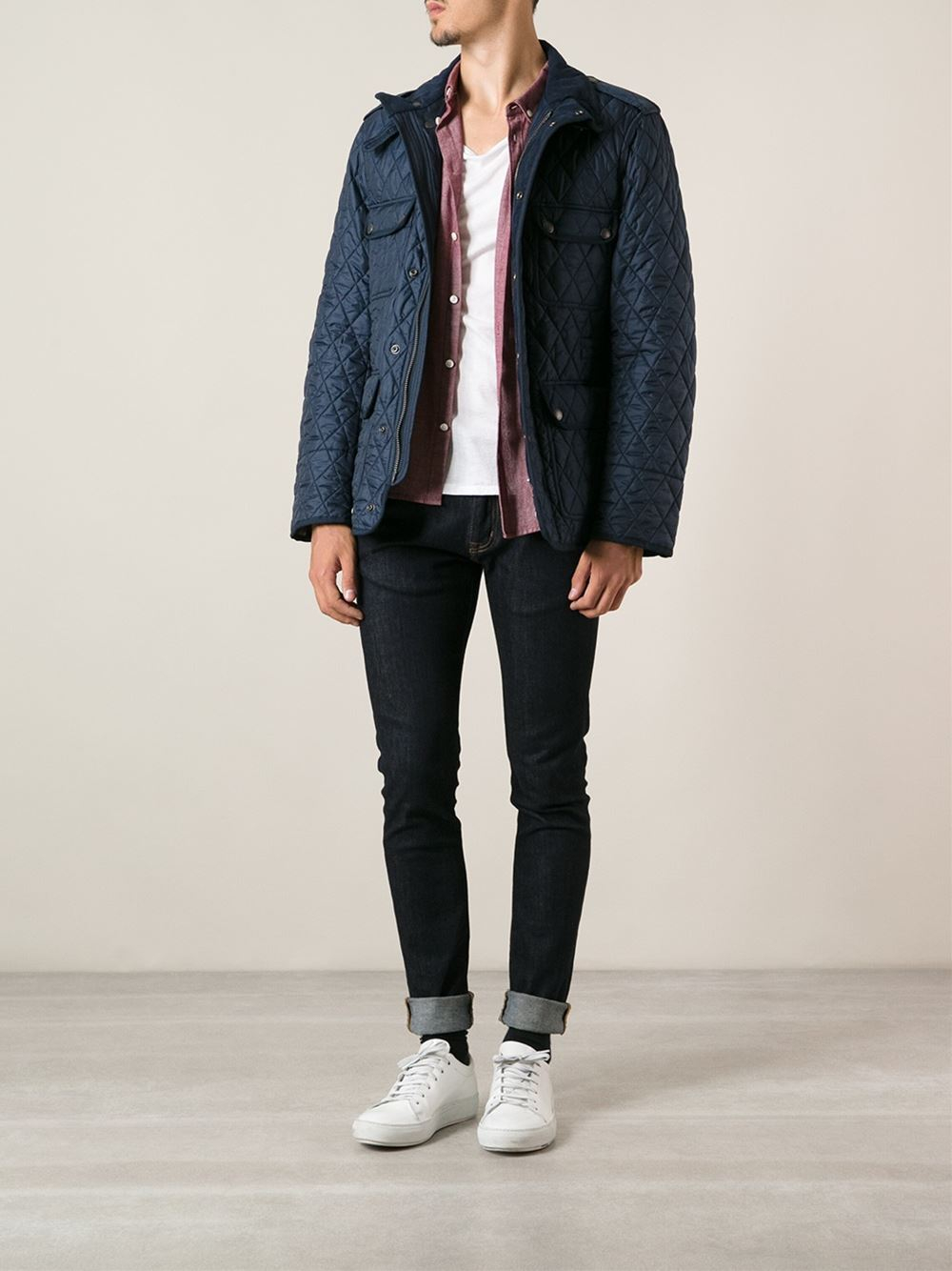Lyst Burberry Brit Diamond Quilted Field Jacket In Blue For Men