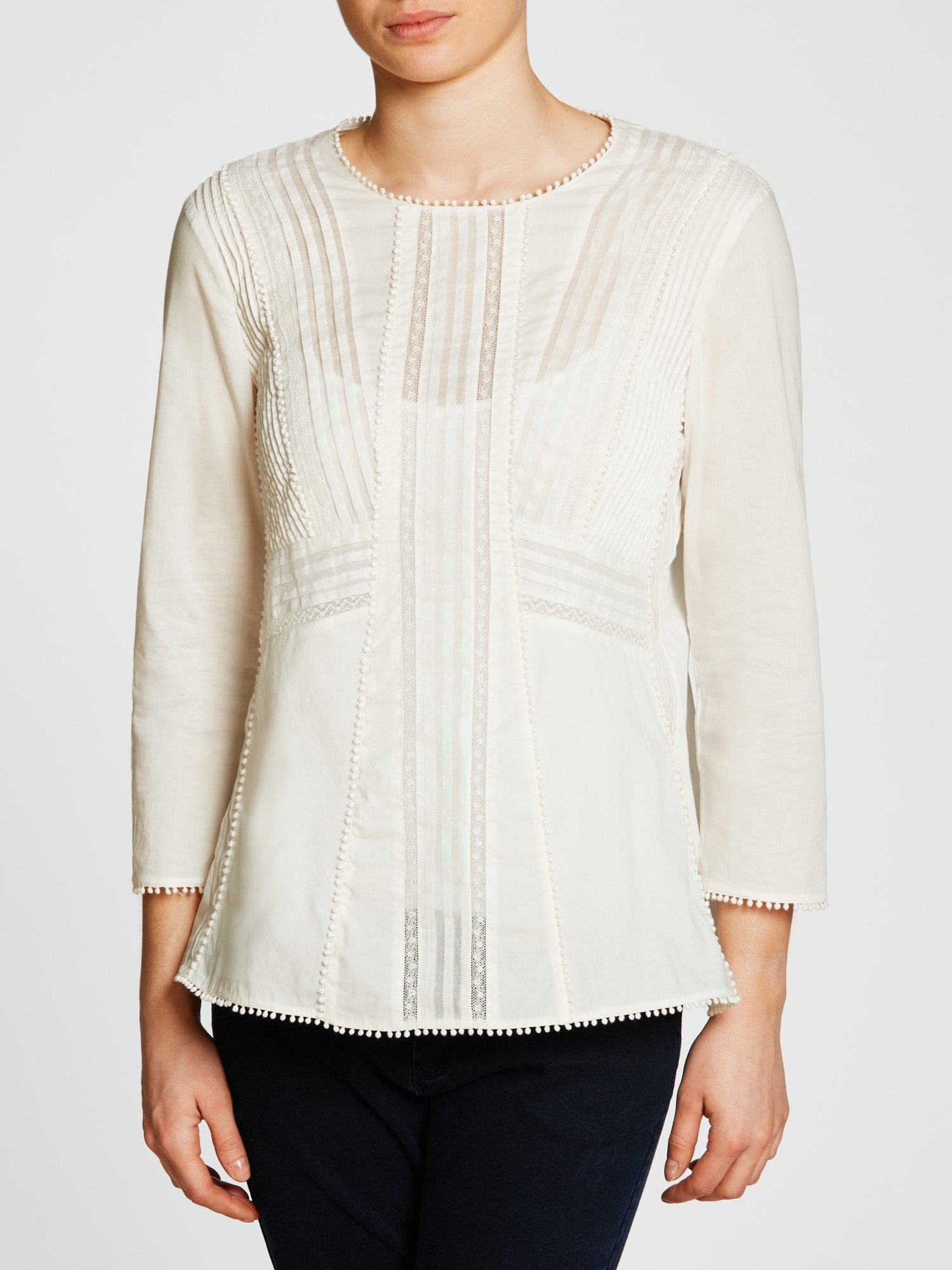 Weekend by Maxmara Cotton Panarea Embroidered Blouse in White
