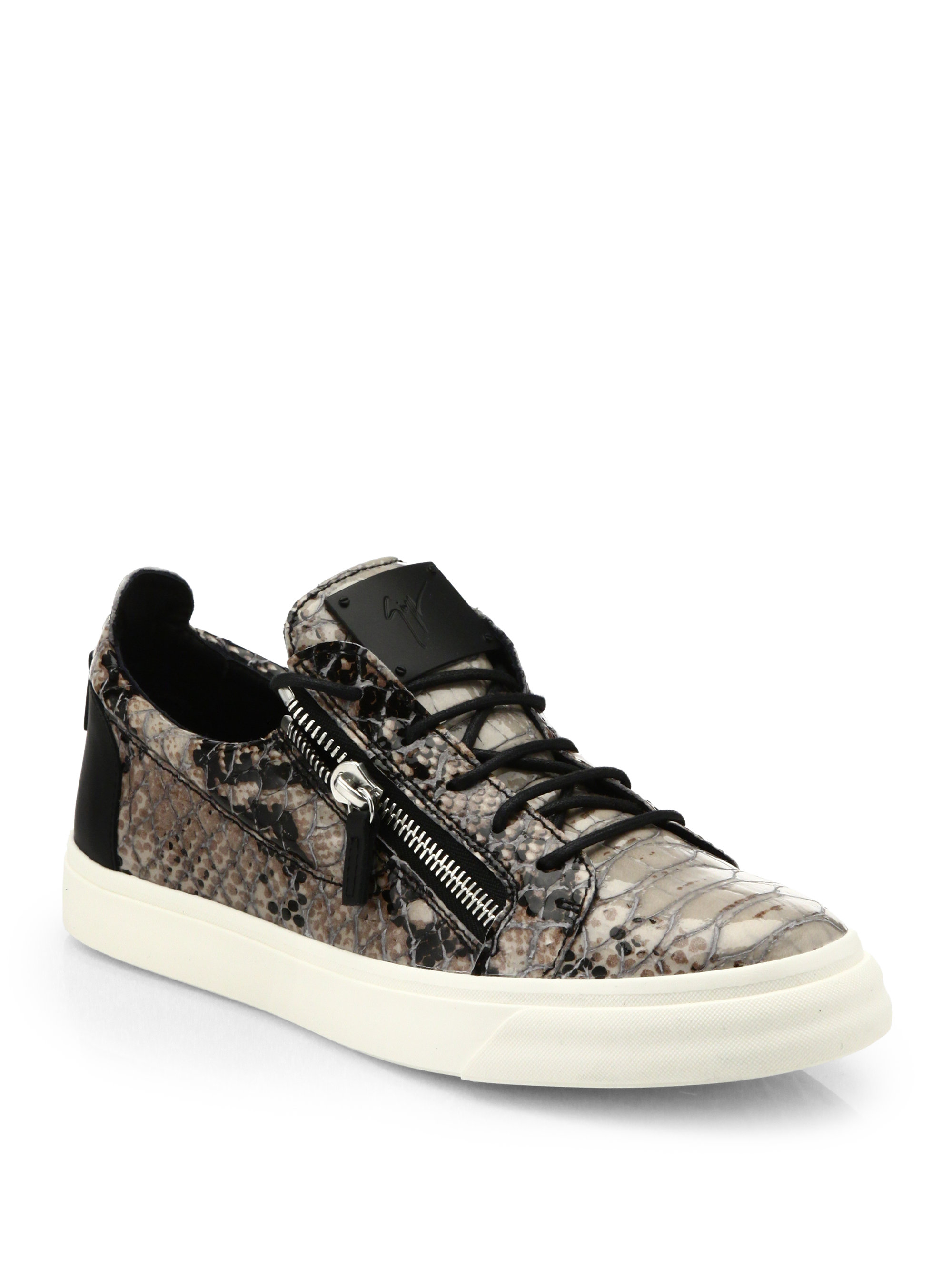 Giuseppe zanotti Devon Snake-Effect Leather Sneakers in ...