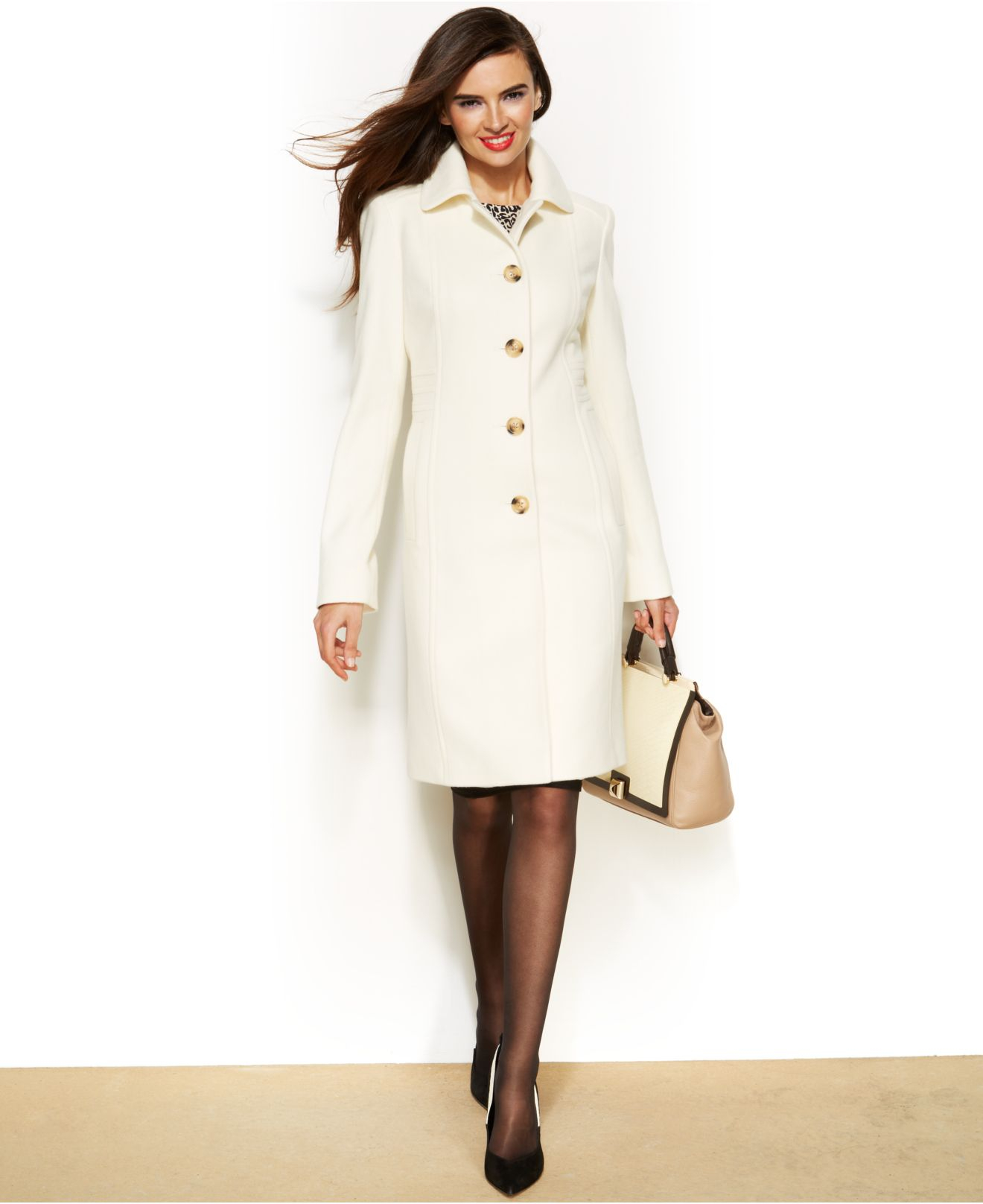 Anne klein Wool-Cashmere-Blend Club-Collar Walker Coat in White | Lyst