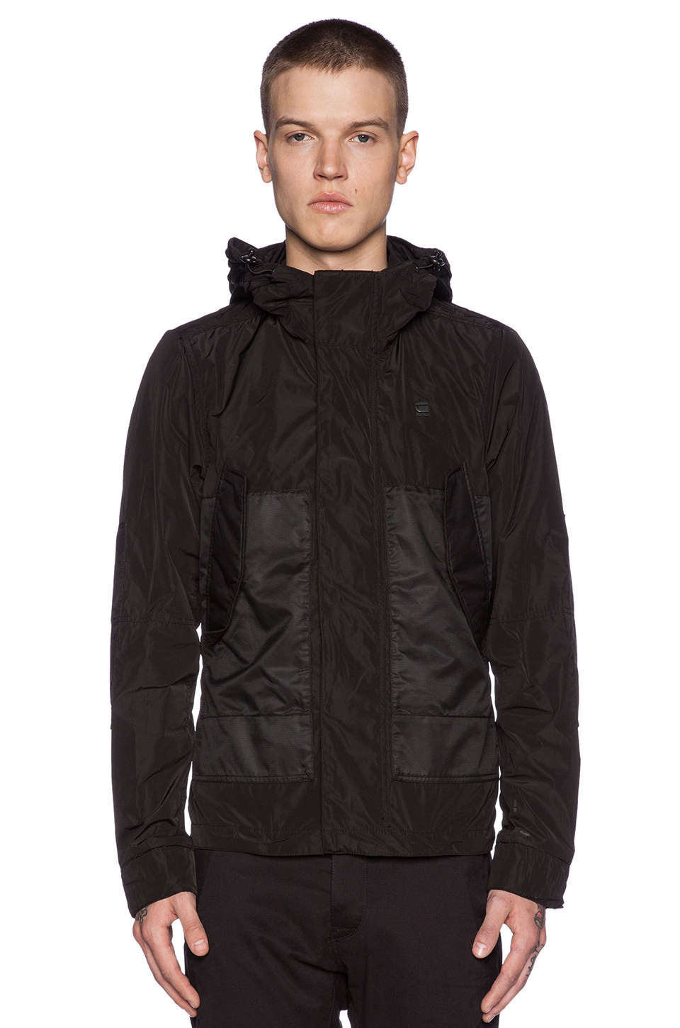 g star raw hooded rovic jacket in black for men lyst. Black Bedroom Furniture Sets. Home Design Ideas