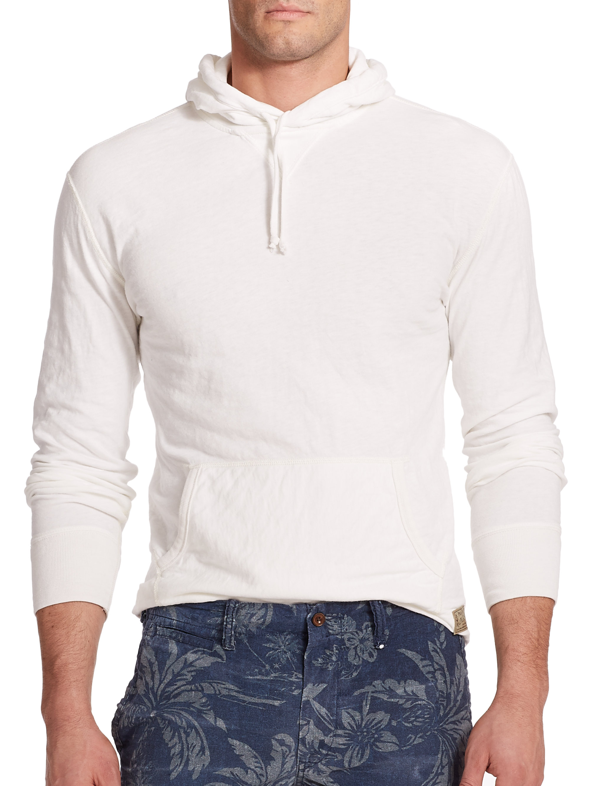 polo ralph lauren jersey hoodie in white for men lyst. Black Bedroom Furniture Sets. Home Design Ideas