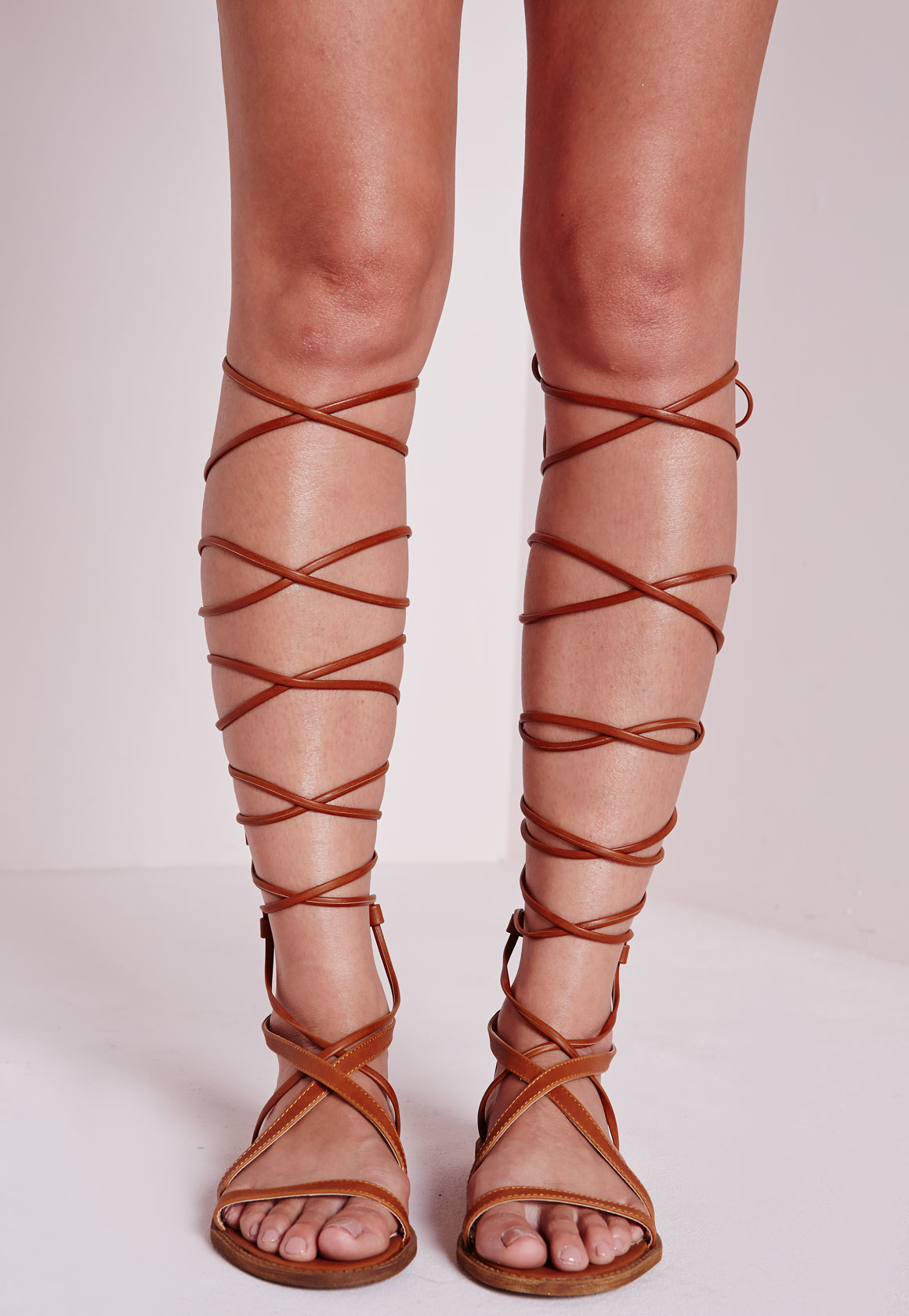 Lyst - Missguided Flat Lace Up Gladiator Sandals Tan in Brown