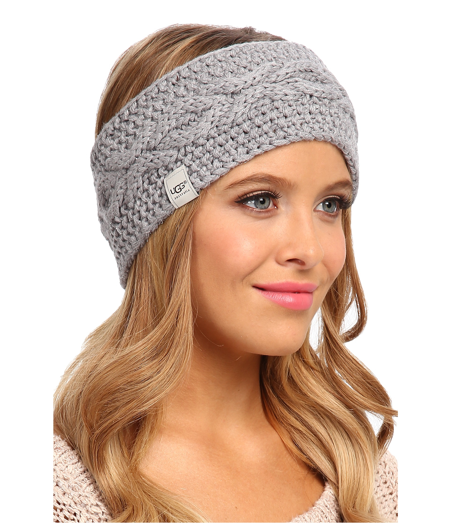 Ugg Nyla Cable Headband With Lurex In Gray Lyst