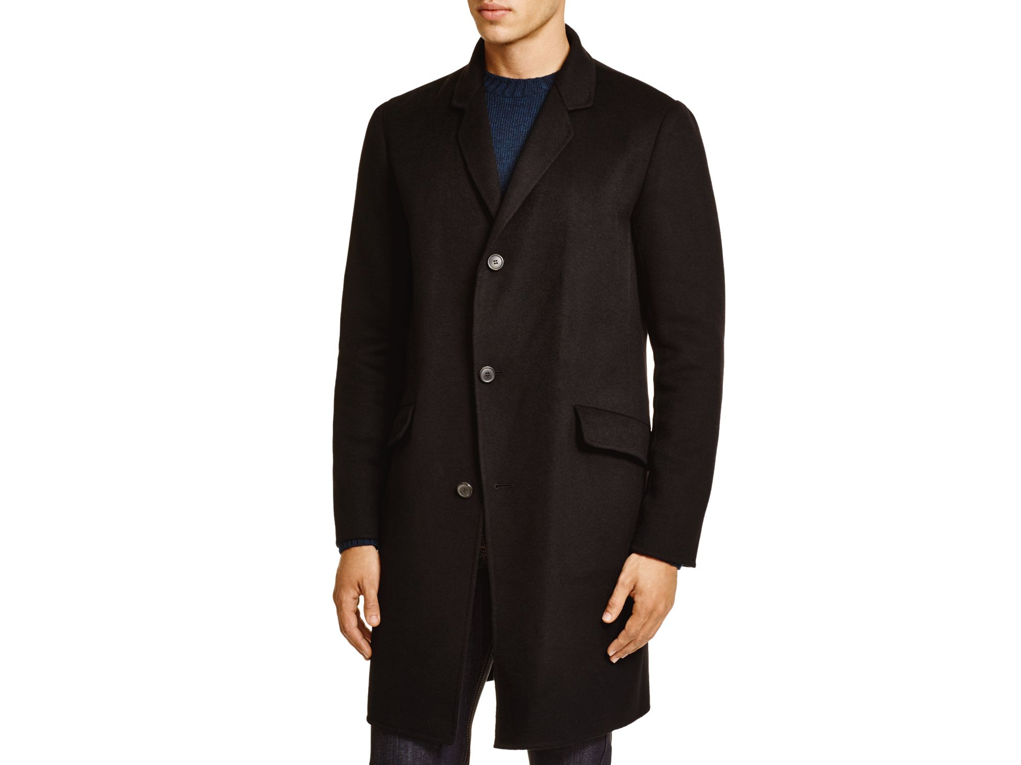 Theory Whyte Wool-cashmere Coat in Black for Men | Lyst
