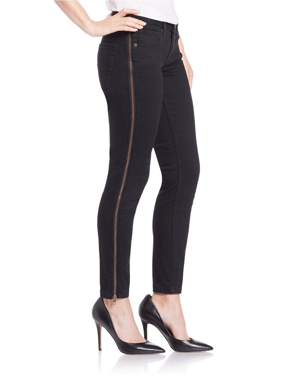 Free people Zip-cuff Skinny Jeans- Black in Black   Lyst