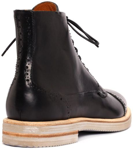 mcqueen vibram sole boot in black for lyst