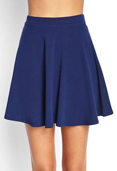 forever 21 basic skater skirt in blue navy lyst