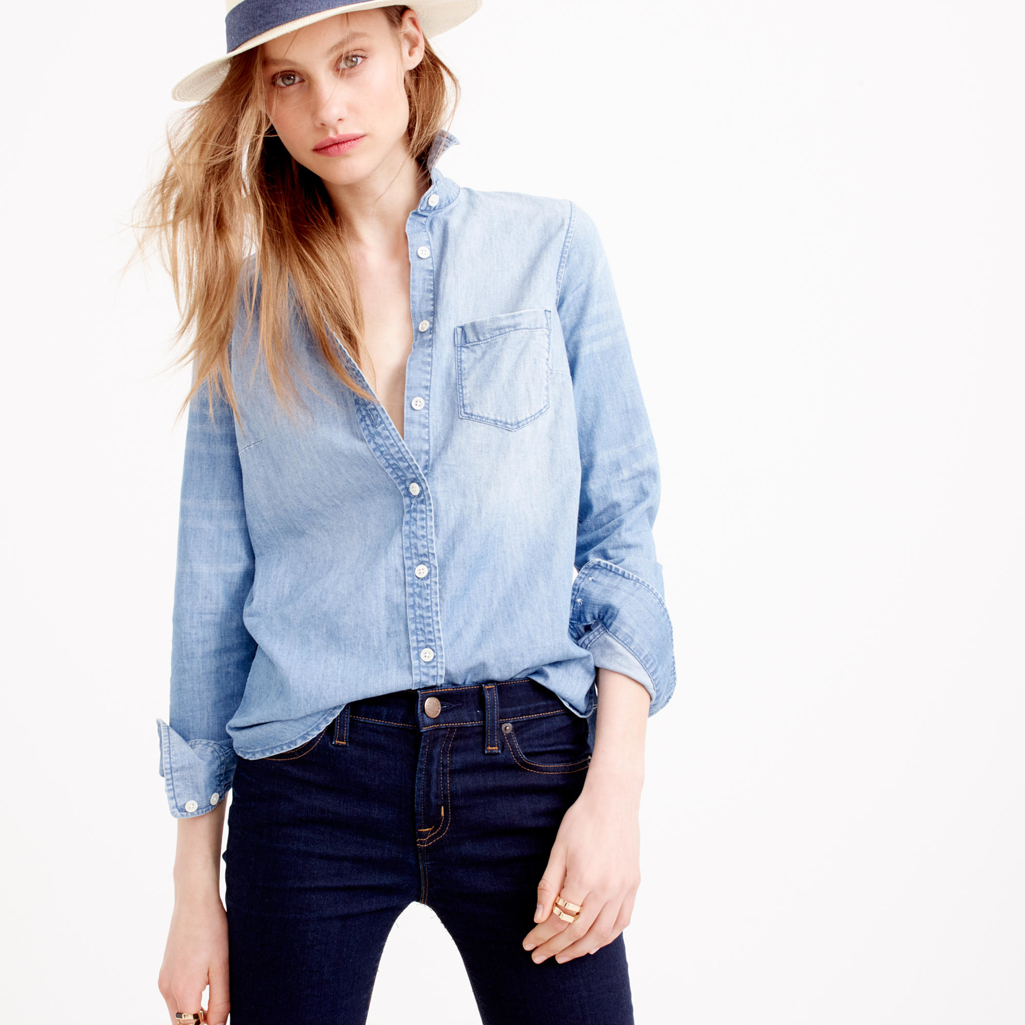 Tall always chambray shirt in blue lyst for Chambray shirt women
