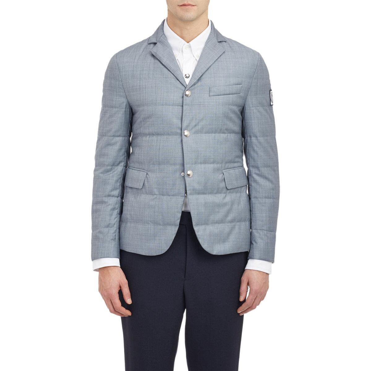 Moncler Gamme Bleu Quilted Classic Blazer- Grey jacket