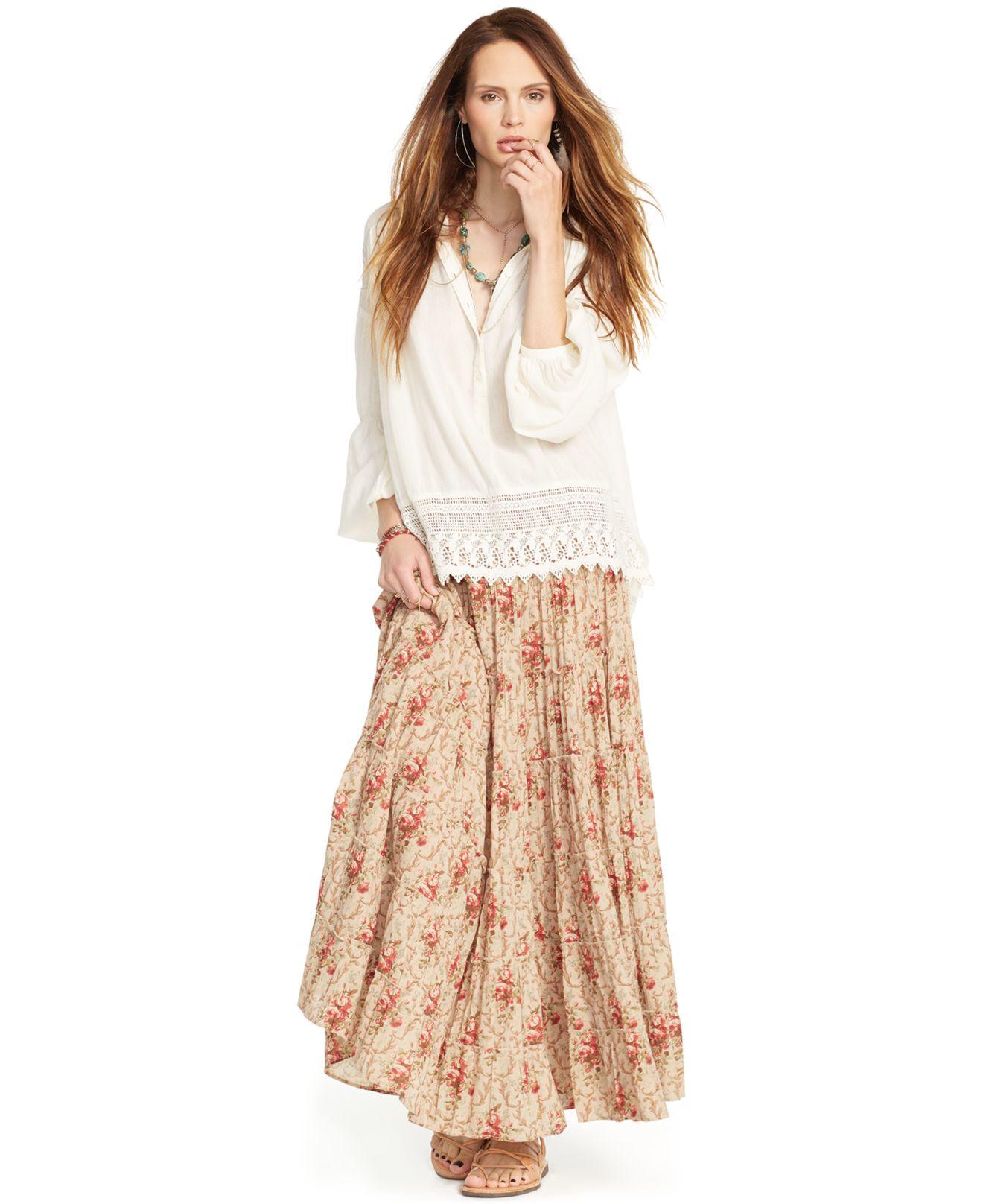 denim supply ralph floral print gauze maxi skirt