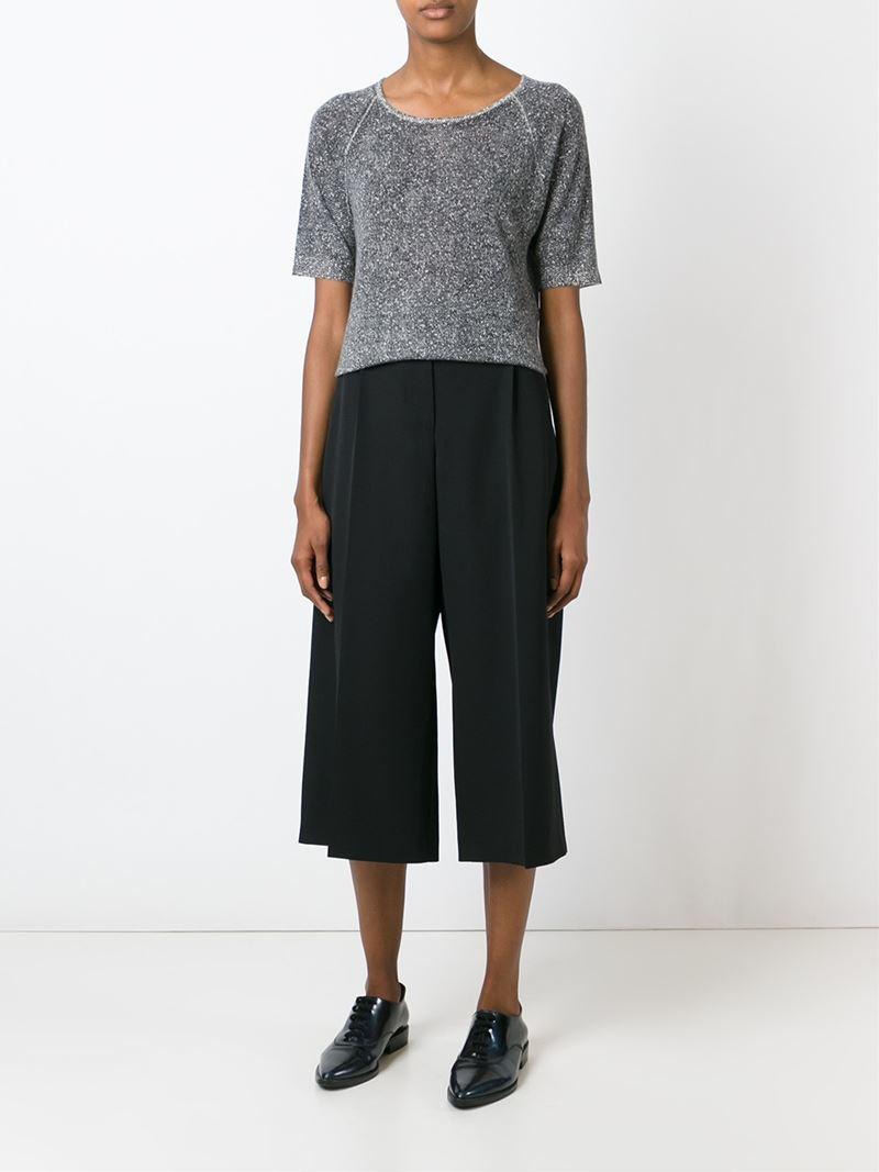 lyst emporio armani fine knit sweater in gray. Black Bedroom Furniture Sets. Home Design Ideas