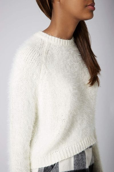 Knitting Pattern Fluffy Jumper : Topshop Knitted Fluffy Crop Jumper in White Lyst