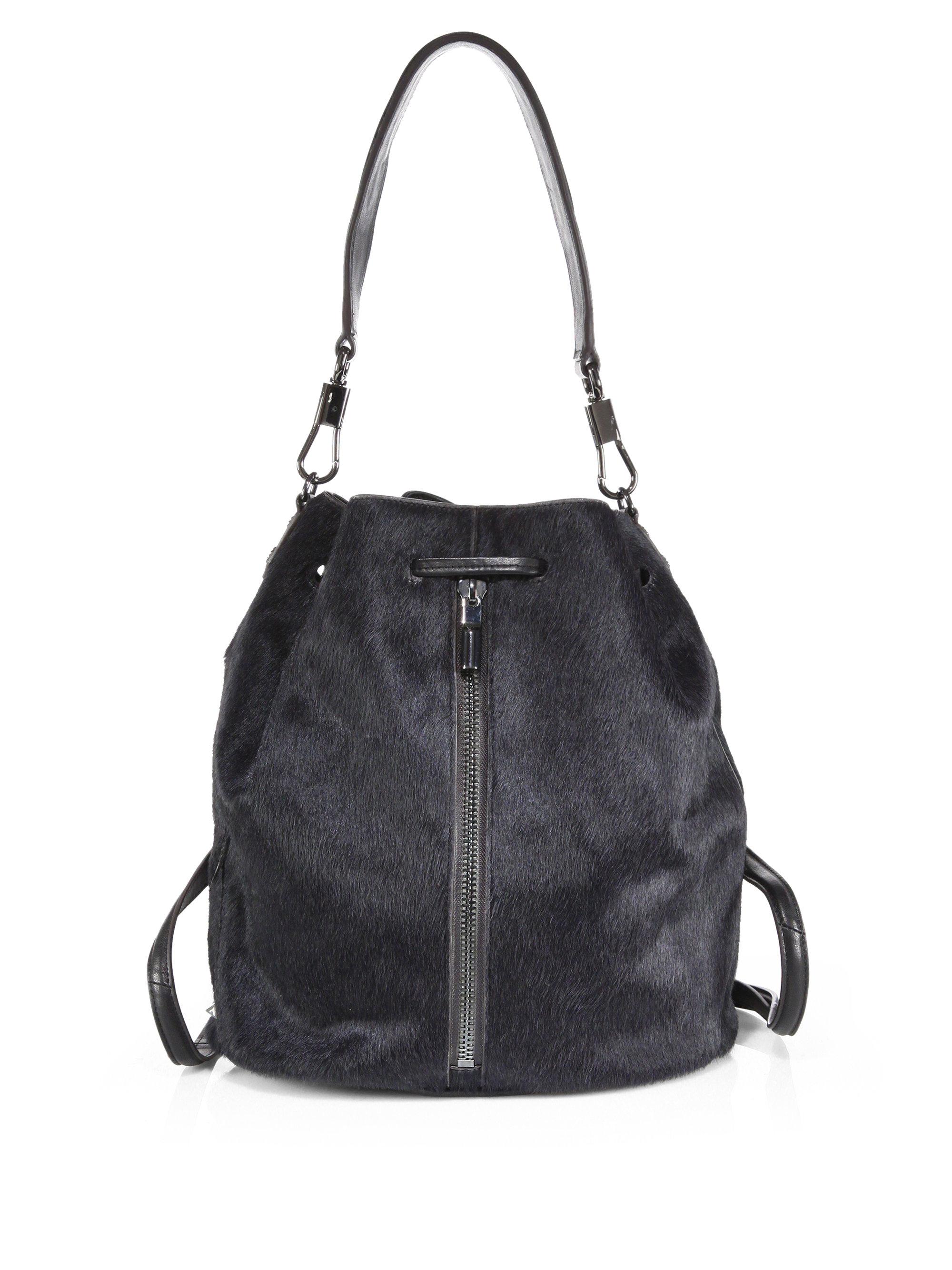 ec067104e9 Lyst - Elizabeth and James Cynnie Calf Hair Sling Backpack in Black
